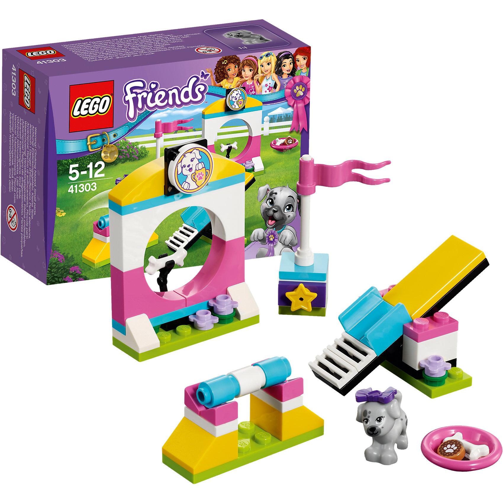 LEGO Friends 41303: Выставка щенков: Игровая площадкаПластмассовые конструкторы<br>LEGO Friends 41303: Выставка щенков: Игровая площадка<br><br>Характеристики:<br><br>- в набор входит: детали салона, щенок Скай, аксессуары, красочная инструкция<br>- состав: пластик<br>- количество деталей: 62<br>- размер качелей: 6 * 1 * 3 см.<br>- размер барьера с обручем: 6 * 2 * 4 см.<br>- для детей в возрасте: от 5 до 12 лет<br>- Страна производитель: Дания/Китай/Чехия<br><br>Легендарный конструктор LEGO (ЛЕГО) представляет серию «Friends» (Друзья) в которую входят наборы конструкторов интересных не только в строительстве, но и в игре.<br><br>Серия разработана с учетом различных повседневных ситуаций и мест. Готовь чемпионов к выставке щенков на специальной игровой площадке. Щенок Скай готов стать первым учеником! Он уже умеет проходить препятствие качели и на скорость бегать к флажку, но барьеры ему даются трудно, планка всегда падает, а барьер с обручем его пугает. Покажи ему вкусную косточку для мотивации и Скаю сразу станет интереснее делать трудные прыжки! Площадка отлично проработана и украшена яркими цветами. В набор входит миска для щенка и лакомства, чтобы будущий чемпион мог подкрепиться после непростого дня тренировок. Фигурка щенка Ская вставляется в детали лего, чтобы она не упала, а благодаря специальному отверстию, можно одевать и снимать красивый бантик. <br><br>Играя с конструктором ребенок развивает моторику рук, воображение и логическое мышление, научится собирать по инструкции и создавать свои модели. Придумывайте новые истории любимых героев с набором LEGO «Friends»!<br><br>Конструктор LEGO Friends 41303: Выставка щенков: Игровая площадка можно купить в нашем интернет-магазине.<br><br>Ширина мм: 126<br>Глубина мм: 93<br>Высота мм: 48<br>Вес г: 66<br>Возраст от месяцев: 60<br>Возраст до месяцев: 144<br>Пол: Женский<br>Возраст: Детский<br>SKU: 5002490