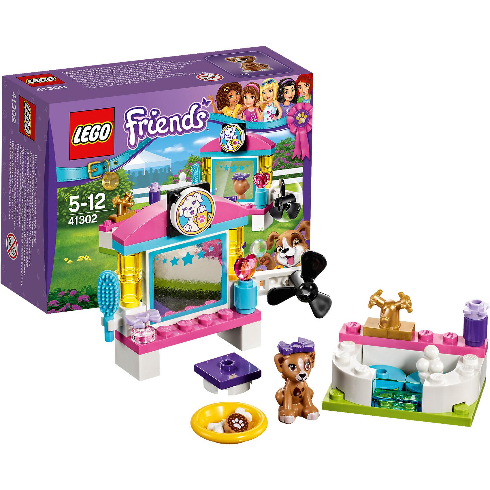 LEGO Friends 41302: Выставка щенков: Салон красотыПластмассовые конструкторы<br>LEGO Friends 41302: Выставка щенков: Салон красоты<br><br>Характеристики:<br><br>- в набор входит: детали салона, щенок Лара, аксессуары, красочная инструкция<br>- состав: пластик<br>- количество деталей: 45<br>- размер туалетного столика: 8 * 3 * 6 см.<br>- размер ванны: 3 * 4 * 3 см.<br>- для детей в возрасте: от 5 до 12 лет<br>- Страна производитель: Дания/Китай/Чехия<br><br>Легендарный конструктор LEGO (ЛЕГО) представляет серию «Friends» (Друзья) в которую входят наборы конструкторов интересных не только в строительстве, но и в игре. <br><br>Серия разработана с учетом различных повседневных ситуаций и мест. Готовь чемпионов к выставке щенков в новом салоне красоты! В набор входит красивая ванная с шариками для мыльных пузырей, шампунем и золотым краном. За туалетным столиком высуши шерстку с помощью большого фена, расчеши щенка и подбери ему бантик. Справа стоит красивый флакончик духов. Будущий чемпион может посмотреть себя в зеркало. А после трудной подготовки дай щенку вкусное лакомство! Фигурка щенка Лары вставляется в детали лего, чтобы она не упала, а благодаря специальному отверстию, можно одевать и снимать красивый бантик. <br><br>Играя с конструктором ребенок развивает моторику рук, воображение и логическое мышление, научится собирать по инструкции и создавать свои модели. Придумывайте новые истории любимых героев с набором LEGO «Friends»!<br><br>Конструктор LEGO Friends 41302: Выставка щенков: Салон красоты можно купить в нашем интернет-магазине.<br><br>Ширина мм: 124<br>Глубина мм: 93<br>Высота мм: 50<br>Вес г: 58<br>Возраст от месяцев: 60<br>Возраст до месяцев: 144<br>Пол: Женский<br>Возраст: Детский<br>SKU: 5002491