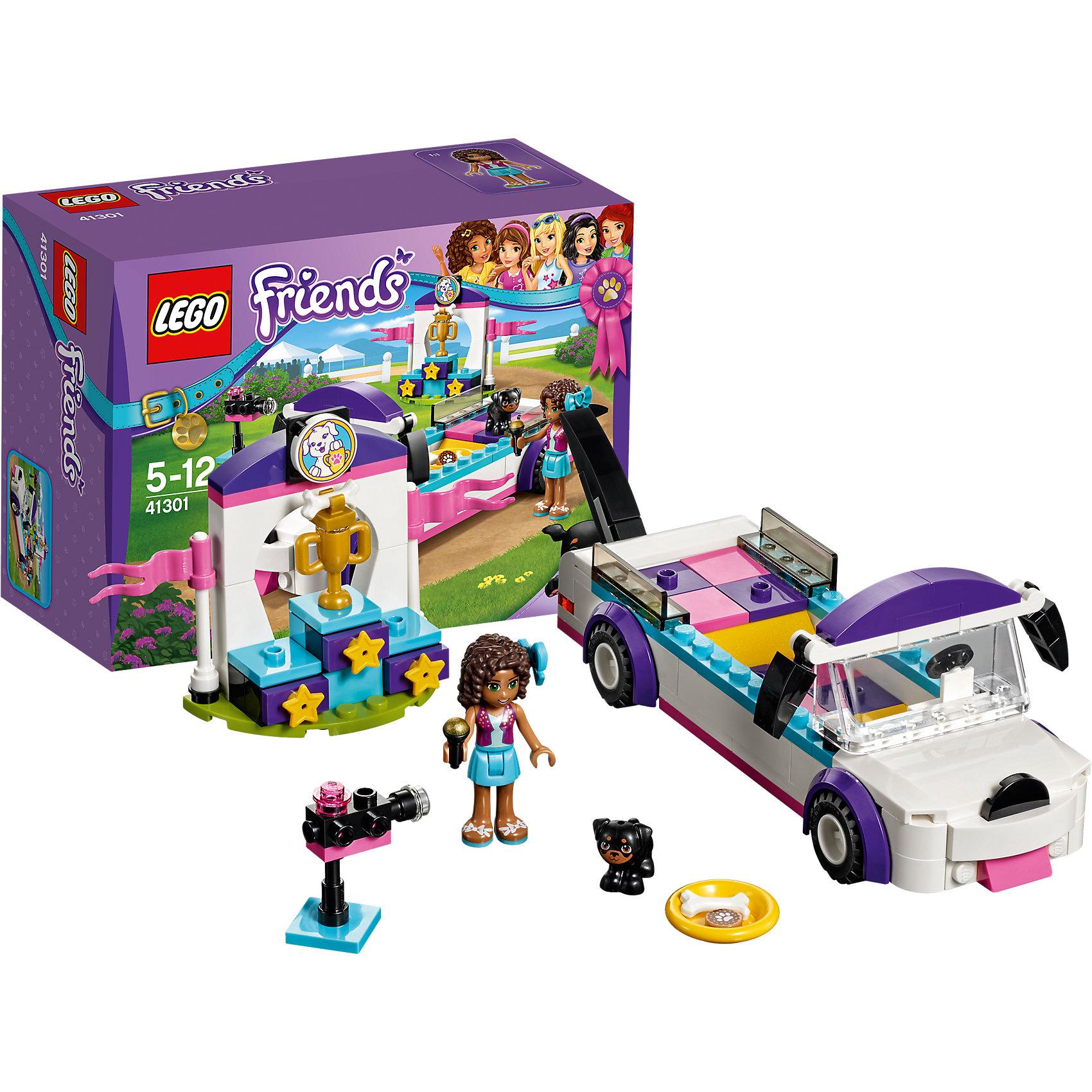 LEGO Friends 41301: Выставка щенков: НаграждениеПластмассовые конструкторы<br>LEGO Friends 41301: Выставка щенков: Награждение<br><br>Характеристики:<br><br>- в набор входит: детали для лимузина и пьедестала, фигурка Андреа, щенок Аполло, аксессуары, красочная инструкция<br>- состав: пластик<br>- количество деталей: 145<br>- размер лимузина: 15 * 5 * 5 см.<br>- размер пьедестала: 11 * 2 * 7 см.<br>- для детей в возрасте: от 5 до 12 лет<br>- Страна производитель: Дания/Китай/Чехия<br><br>Легендарный конструктор LEGO (ЛЕГО) представляет серию «Friends» (Друзья) в которую входят наборы конструкторов интересных не только в строительстве, но и в игре. <br><br>Серия разработана с учетом различных повседневных ситуаций и мест. Оправляйся на парад победителя вместе с Андреа! Первоклассный лимузин для победителей выставки собак возглавляет парад. Храбрый щенок Аполло занял первое место и едет в лимузине на ярком постаменте. Необычный лимузин выглядит как настоящая собачка, ведь у него даже и нос имеется! Андреа ведет репортаж по телевидению и рассказывает все о победителе сложного конкурса. В набор входит пьедестал для победителя и золотой кубок. В качестве бонуса щенок Аполло получает вкусное лакомство. Сама фигурка Андреа отлично проработана, ее рельефные волосы уложены в красивую прическу, в волосы она вставила нежный бантик. Ее наряд отлично подходит для такой выставки – блестящий топ, жилетка и простая голубая юбочка. Фигурка может двигать головой, руками, торсом и принимать сидячее положение. <br><br>Фигурка щенка вставляется в детали лего, чтобы он не упал, благодаря специальному отверстию, можно одевать и снимать бантик. Играя с конструктором ребенок развивает моторику рук, воображение и логическое мышление, научится собирать по инструкции и создавать свои модели. Придумывайте новые истории любимых героев с набором LEGO «Friends»!<br><br>Конструктор LEGO Friends 41301: Выставка щенков: Награждение можно купить в нашем интернет-магазине.<br><br>Ширина мм: 195<br>Глуби