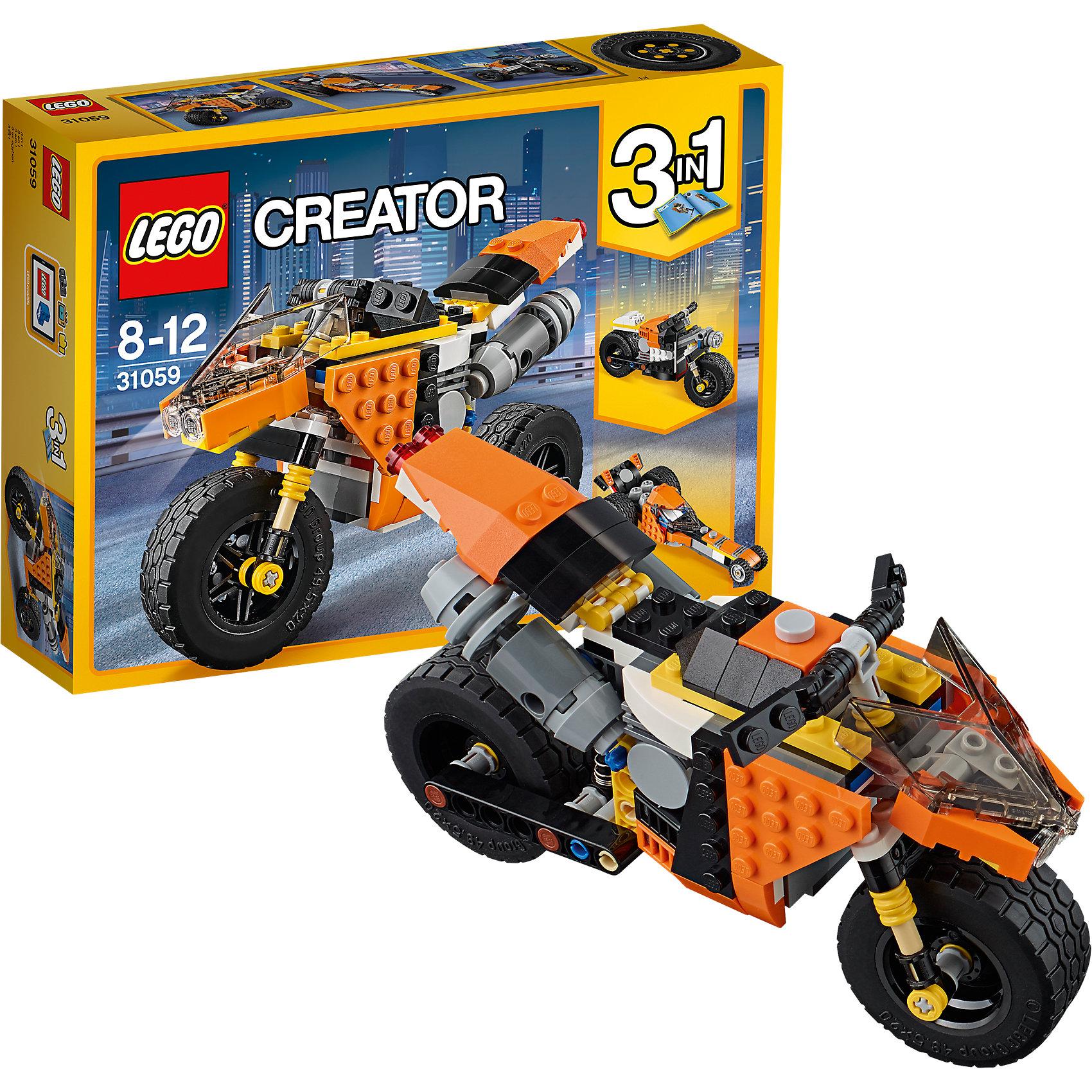 LEGO Creator 31059: Оранжевый мотоциклПластмассовые конструкторы<br>LEGO Creator 31059: Оранжевый мотоцикл<br><br>Характеристики:<br><br>- в набор входит: детали для мотоцикла, красочная инструкция<br>- состав: пластик<br>- количество деталей: 194<br>- размер гоночного мотоцикла: 18 * 7 * 12 см.<br>- размер дорожного мотоцикла: 17 * 7 * 10 см.<br>- размер гоночной машины: 19 * 7 * 8 см.<br>- для детей в возрасте: от 8 до 12 лет<br>- Страна производитель: Дания/Китай/Чехия<br><br>Легендарный конструктор LEGO (ЛЕГО) представляет серию «Creator» (Криэйтор), которая позволяет детям экспериментировать с домами, машинами, самолетами и существами. Каждый набор этой серии подразумевает перестройку тремя разными способами убирая ограничения веселья! Набор Оранжевый мотоцикл понравится юным любителям мотоциклов и гонок. Реалистичный гоночный мотоцикл с вилкой для переднего колеса и имитацией амортизации, а так же с подвижной регулировкой заднего колеса приведет ребенка в восторг! Можно перестроить мотоцикл в дорожную модель с имитацией зеркал дальнего вида. Во всех моделях мотоциклов можно двигать передним колесом с помощью руля. Мотоциклы можно перестроить в классический гоночный болид и выигрывать автомобильные гонки. Играя с конструктором ребенок развивает моторику рук, воображение и логическое мышление, научится собирать по инструкции и создавать свои модели. Придумывайте новые игры с набором LEGO «Creator»!<br><br>Конструктор LEGO Creator 31059: Оранжевый мотоцикл можно купить в нашем интернет-магазине.<br><br>Ширина мм: 264<br>Глубина мм: 188<br>Высота мм: 65<br>Вес г: 349<br>Возраст от месяцев: 96<br>Возраст до месяцев: 144<br>Пол: Мужской<br>Возраст: Детский<br>SKU: 5002494