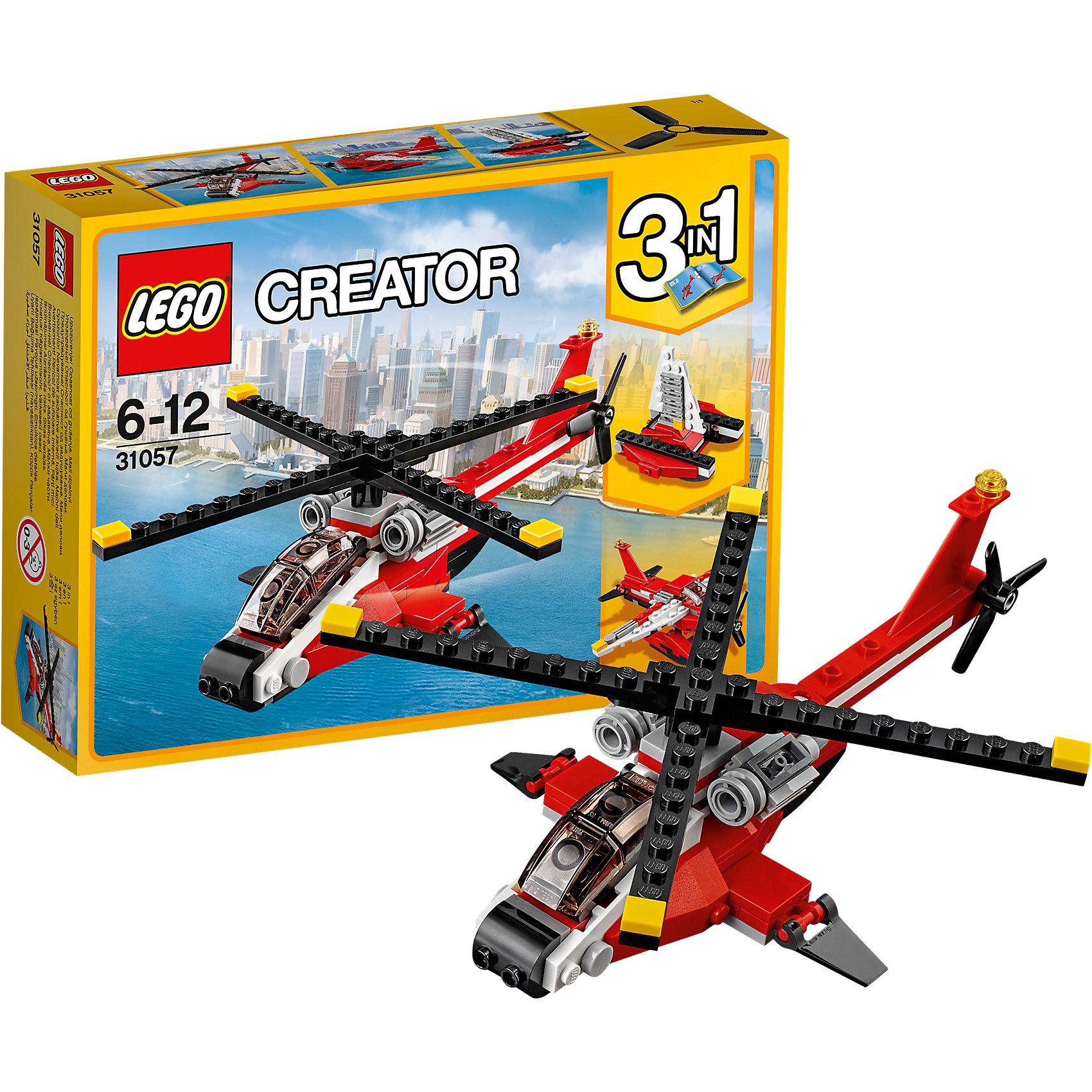 LEGO Creator 31057: Красный вертолётПластмассовые конструкторы<br>LEGO Creator 31057: Красный вертолёт<br><br>Характеристики:<br><br>- в набор входит: детали для вертолета, красочная инструкция<br>- состав: пластик<br>- количество деталей: 102<br>- размер вертолета: 21 * 5 * 16 см.<br>- размер самолета: 14 * 14 * 6 см.<br>- размер парусника: 8 * 7 * 8 см.<br>- для детей в возрасте: от 6 до 12 лет<br>- Страна производитель: Дания/Китай/Чехия<br><br>Легендарный конструктор LEGO (ЛЕГО) представляет серию «Creator» (Криэйтор), которая позволяет детям экспериментировать с домами, машинами, самолетами и существами. Каждый набор этой серии подразумевает перестройку тремя разными способами убирая ограничения веселья! Набор Красный вертолёт понравится юным любителям самолетов и лодок. Реалистичный красный вертолет с двумя убирающимися подножками для приземления может быть перестроен в самолет, который может приземляться на воду, а также в парусник. Красно-белый цвет вертолета может олицетворять пожарных или медиков, создавая простор для творчества. Если у ребенка уже есть другие наборы ЛЕГО, то можно с их помощью достроить свои детали. Играя с конструктором ребенок развивает моторику рук, воображение и логическое мышление, научится собирать по инструкции и создавать свои модели. Придумывайте новые игры с набором LEGO «Creator»!<br><br>Конструктор LEGO Creator 31057: Красный вертолёт можно купить в нашем интернет-магазине.<br><br>Ширина мм: 193<br>Глубина мм: 140<br>Высота мм: 50<br>Вес г: 175<br>Возраст от месяцев: 72<br>Возраст до месяцев: 144<br>Пол: Мужской<br>Возраст: Детский<br>SKU: 5002495
