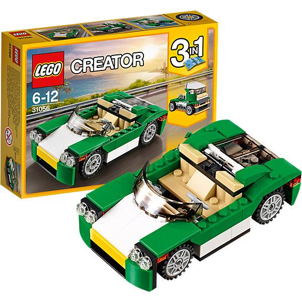 LEGO Creator 31056: Зелёный кабриолетПластмассовые конструкторы<br>LEGO Creator 31056: Зелёный кабриолет<br><br>Характеристики:<br><br>- в набор входит: детали для машины, красочная инструкция<br>- состав: пластик<br>- количество деталей: 122<br>- размер кабриолета: 12 * 3 * 6 см.<br>- размер грузовика: 10 * 6 * 6 см.<br>- размер скоростной лодки: 12 * 3 * 6 см.<br>- для детей в возрасте: от 6 до 12 лет<br>- Страна производитель: Дания/Китай/Чехия<br><br>Легендарный конструктор LEGO (ЛЕГО) представляет серию «Creator» (Криэйтор), которая позволяет детям экспериментировать с домами, машинами, самолетами и существами. Каждый набор этой серии подразумевает перестройку тремя разными способами убирая ограничения веселья! Набор Зелёный кабриолет понравится юным любителям автомобилей и гонок. Кабриолет красивых зеленых, бежевых и белых цветов может быть перестроена в грузовик или гоночный катер. Все детали отлично проработаны и прекрасно сочетаются при перемещении цветных деталей. Если у ребенка уже есть другие наборы ЛЕГО, то можно с их помощью достроить свои детали. Играя с конструктором ребенок развивает моторику рук, воображение и логическое мышление, научится собирать по инструкции и создавать свои модели. Придумывайте новые игры с набором LEGO «Creator»!<br><br>Конструктор LEGO Creator 31056: Зелёный кабриолет можно купить в нашем интернет-магазине.<br><br>Ширина мм: 192<br>Глубина мм: 140<br>Высота мм: 50<br>Вес г: 200<br>Возраст от месяцев: 72<br>Возраст до месяцев: 144<br>Пол: Мужской<br>Возраст: Детский<br>SKU: 5002496