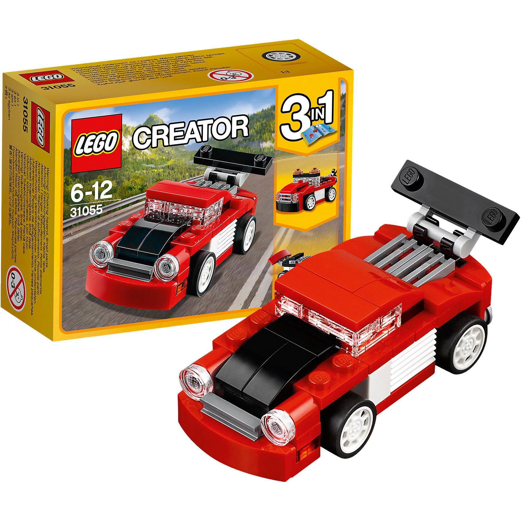LEGO Creator 31055: Красная гоночная машинаПластмассовые конструкторы<br>LEGO Creator 31055: Красная гоночная машина<br><br>Характеристики:<br><br>- в набор входит: детали для машины, красочная инструкция<br>- состав: пластик<br>- количество деталей: 71<br>- размер гоночной машины: 8 * 3 * 3 см.<br>- размер эвакуатора: 8 * 3 * 3 см.<br>- размер болида: 7 * 3 * 3 см.<br>- для детей в возрасте: от 6 до 12 лет<br>- Страна производитель: Дания/Китай/Чехия<br><br>Легендарный конструктор LEGO (ЛЕГО) представляет серию «Creator» (Криэйтор), которая позволяет детям экспериментировать с домами, машинами, самолетами и существами. Каждый набор этой серии подразумевает перестройку тремя разными способами убирая ограничения веселья! Набор Красная гоночная машина понравится юным любителям автомобилей и гонок. Машина классических гоночных красных, черных и белых цветов может быть перестроена в эвакуатор или гоночный болид Формулы 1. Все детали отлично проработаны и прекрасно сочетаются. При наличии нескольких таких наборов можно прицеплять и вывозить эвакуатором гоночную машину, а если у ребенка уже есть другие детали ЛЕГО, то можно с их помощью достроить свои детали. Играя с конструктором ребенок развивает моторику рук, воображение и логическое мышление, научится собирать по инструкции и создавать свои модели. Придумывайте новые игры с набором LEGO «Creator»!<br><br>Конструктор LEGO Creator 31055: Красная гоночная машина можно купить в нашем интернет-магазине.<br><br>Ширина мм: 123<br>Глубина мм: 93<br>Высота мм: 50<br>Вес г: 75<br>Возраст от месяцев: 72<br>Возраст до месяцев: 144<br>Пол: Мужской<br>Возраст: Детский<br>SKU: 5002497