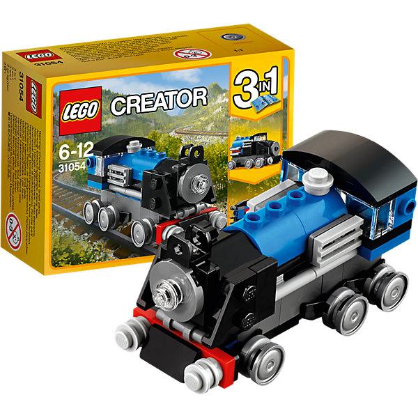 LEGO Creator 31054: Голубой экспрессПластмассовые конструкторы<br>LEGO Creator 31054: Голубой экспресс<br><br>Характеристики:<br><br>- в набор входит: детали для экспресса, красочная инструкция<br>- состав: пластик<br>- количество деталей: 71<br>- размер экспресса: 9 * 4 * 4 см.<br>- размер локомотива: 8 * 4 * 4 см.<br>- размер вагона: 6 * 3 * 3 см.<br>- для детей в возрасте: от 6 до 12 лет<br>- Страна производитель: Дания/Китай/Чехия<br><br>Легендарный конструктор LEGO (ЛЕГО) представляет серию «Creator» (Криэйтор), которая позволяет детям экспериментировать с домами, машинами, самолетами и существами. Каждый набор этой серии подразумевает перестройку тремя разными способами убирая ограничения веселья! Набор Голубой экспресс понравится юным любителям поездов и локомотивов. Поезд классических серых, черных и голубых цветов может быть перестроен в локомотив, скоростной поезд или вагончик, а если захочет, то и свою уникальную модель. Все детали отлично проработаны и прекрасно сочетаются. При наличии нескольких таких наборов можно конструировать и прицеплять вагоны к Голубому экспрессу, а если у ребенка уже есть другие детали ЛЕГО, то можно с их помощью достроить свои вагончики или детали. Играя с конструктором ребенок развивает моторику рук, воображение и логическое мышление, научится собирать по инструкции и создавать свои модели. Придумывайте новые игры с набором LEGO «Creator»!<br><br>Конструктор LEGO Creator 31054: Голубой экспресс можно купить в нашем интернет-магазине.<br><br>Ширина мм: 121<br>Глубина мм: 91<br>Высота мм: 47<br>Вес г: 80<br>Возраст от месяцев: 72<br>Возраст до месяцев: 144<br>Пол: Мужской<br>Возраст: Детский<br>SKU: 5002498