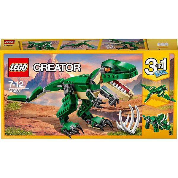 LEGO Creator 31058: Грозный динозаврПластмассовые конструкторы<br>LEGO Creator 31058: Грозный динозавр<br><br>Характеристики:<br><br>- в набор входит: детали для динозавра, красочная инструкция<br>- состав: пластик<br>- количество деталей: 174<br>- высота тираннозавра: 11 см.<br>- высота трицератопса: 9 см.<br>- размер птеродактиля: 25 * 4 * 18 см.<br>- для детей в возрасте: от 7 до 12 лет<br>- Страна производитель: Дания/Китай/Чехия<br><br>Легендарный конструктор LEGO (ЛЕГО) представляет серию «Creator» (Криэйтор), которая позволяет детям экспериментировать с домами, машинами, самолетами и существами. Каждый набор этой серии подразумевает перестройку тремя разными способами убирая ограничения веселья! Набор Красный вертолёт понравится юным любителям динозавтров. Реалистичный тираннозавр с подвижными конечностями и открывающейся пастью перестраивается в летающего птеродактиля или в мощного травоядного трицератопса. При наличии трех таких наборов можно играть сразу с тремя разными динозаврами или построить семью из трех одинаковых. Играя с конструктором ребенок развивает моторику рук, воображение и логическое мышление, научится собирать по инструкции и создавать свои модели. Придумывайте новые игры с набором LEGO «Creator»!<br><br>Конструктор LEGO Creator 31058: Грозный динозавр можно купить в нашем интернет-магазине.<br><br>Ширина мм: 264<br>Глубина мм: 142<br>Высота мм: 50<br>Вес г: 254<br>Возраст от месяцев: 84<br>Возраст до месяцев: 144<br>Пол: Мужской<br>Возраст: Детский<br>SKU: 5002500