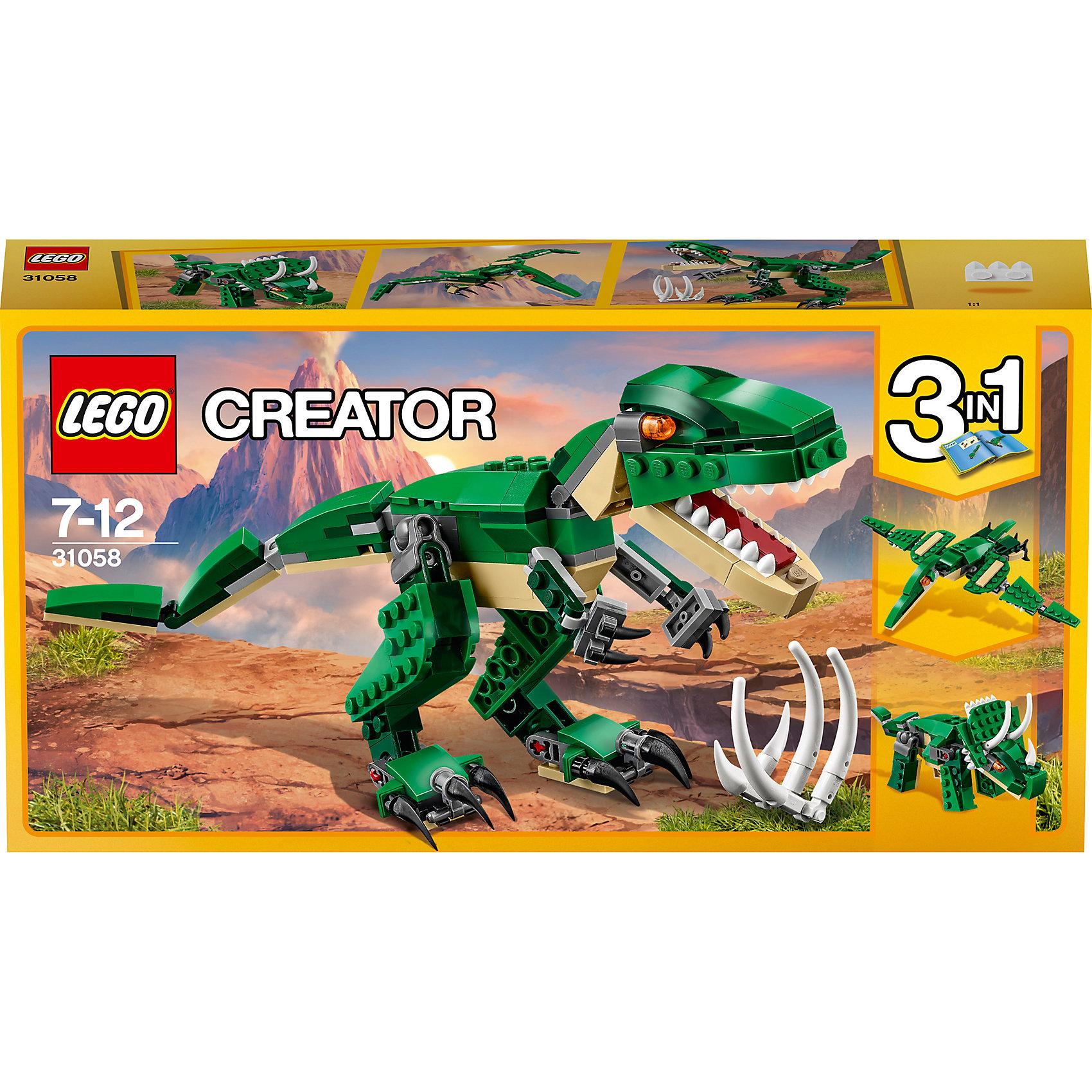 LEGO Creator 31058: Грозный динозаврПластмассовые конструкторы<br>LEGO Creator 31058: Грозный динозавр<br><br>Характеристики:<br><br>- в набор входит: детали для динозавра, красочная инструкция<br>- состав: пластик<br>- количество деталей: 174<br>- высота тираннозавра: 11 см.<br>- высота трицератопса: 9 см.<br>- размер птеродактиля: 25 * 4 * 18 см.<br>- для детей в возрасте: от 7 до 12 лет<br>- Страна производитель: Дания/Китай/Чехия<br><br>Легендарный конструктор LEGO (ЛЕГО) представляет серию «Creator» (Криэйтор), которая позволяет детям экспериментировать с домами, машинами, самолетами и существами. Каждый набор этой серии подразумевает перестройку тремя разными способами убирая ограничения веселья! Набор Красный вертолёт понравится юным любителям динозавтров. Реалистичный тираннозавр с подвижными конечностями и открывающейся пастью перестраивается в летающего птеродактиля или в мощного травоядного трицератопса. При наличии трех таких наборов можно играть сразу с тремя разными динозаврами или построить семью из трех одинаковых. Играя с конструктором ребенок развивает моторику рук, воображение и логическое мышление, научится собирать по инструкции и создавать свои модели. Придумывайте новые игры с набором LEGO «Creator»!<br><br>Конструктор LEGO Creator 31058: Грозный динозавр можно купить в нашем интернет-магазине.<br><br>Ширина мм: 265<br>Глубина мм: 142<br>Высота мм: 53<br>Вес г: 249<br>Возраст от месяцев: 84<br>Возраст до месяцев: 144<br>Пол: Мужской<br>Возраст: Детский<br>SKU: 5002500
