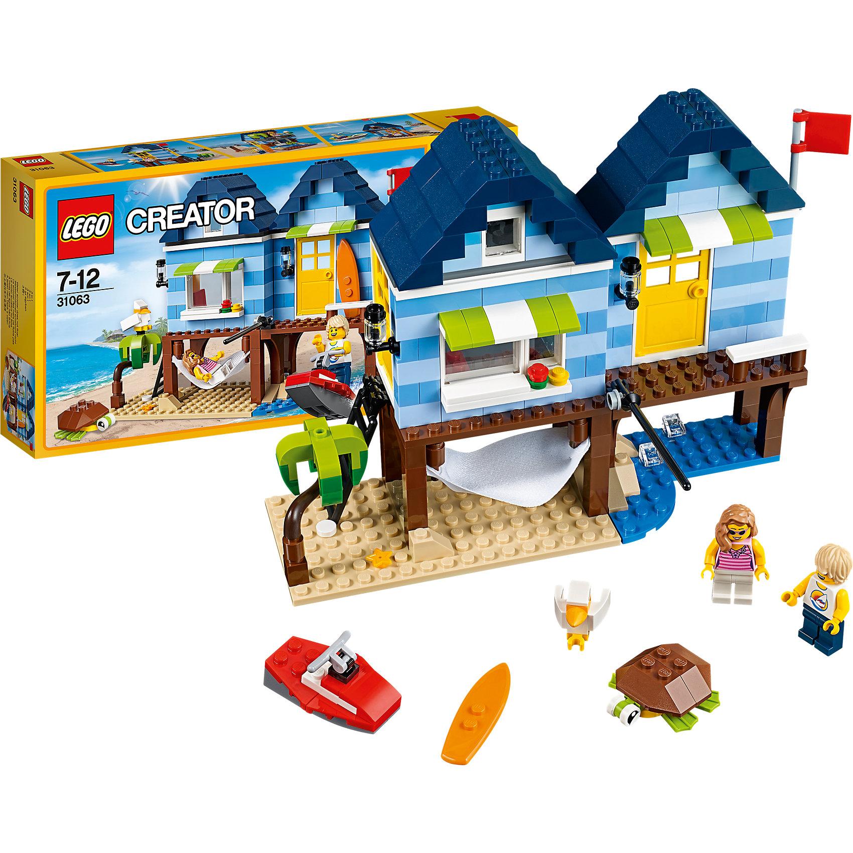 LEGO Creator 31063: Отпуск у моряПластмассовые конструкторы<br>LEGO Creator 31063: Отпуск у моря<br><br>Характеристики:<br><br>- в набор входит: детали для дома и катера, 2 минифигурки, аксессуары, красочная инструкция<br>- состав: пластик<br>- количество деталей: 275<br>- размер пляжного дома: 27 * 11 * 18 см.<br>- размер бухты: 16 * 9 * 14 см.<br>- размер магазина: 27 * 11 * 18 см.<br>- для детей в возрасте: от 7 до 12 лет<br>- Страна производитель: Дания/Китай/Чехия<br><br>Легендарный конструктор LEGO (ЛЕГО) представляет серию «Creator» (Криэйтор), которая позволяет детям экспериментировать с домами, машинами, самолетами и существами. Каждый набор этой серии подразумевает перестройку тремя разными способами убирая ограничения веселья! Набор Отпуск у моря придет по вкусу каждому поклоннику конструктора. Шикарный складывающийся домик у моря имеет все необходимое для лучшего отдыха. Пальма, морская черепаха, райская птичка, гамак, катер и доска для серфинга. Специальные детали домика, такие как наружные светильники, козырьки над окном и дверью, вентилятор и аквариум с рыбкой добавляют уюта и реалистичности. Дом можно перестроить в магазинчик на берегу и парусную лодку. А можно построить вместо этого бухту и катер побольше. В набор входит минифигурка девушки и минифигурка юноши. Каждая минифигурка отлично проработана и у них есть по два выражения лица. Играя с конструктором ребенок развивает моторику рук, воображение и логическое мышление, научится собирать по инструкции и создавать свои модели. Придумывайте новые игры с набором LEGO «Creator»!<br><br>Конструктор LEGO Creator 31063: Отпуск у моря можно купить в нашем интернет-магазине.<br><br>Ширина мм: 354<br>Глубина мм: 192<br>Высота мм: 63<br>Вес г: 547<br>Возраст от месяцев: 84<br>Возраст до месяцев: 144<br>Пол: Унисекс<br>Возраст: Детский<br>SKU: 5002501