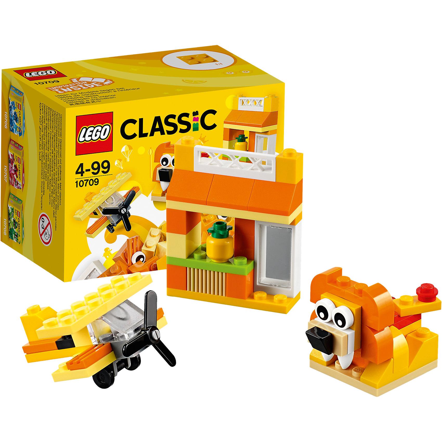 LEGO Classic 10709: Оранжевый набор для творчестваПластмассовые конструкторы<br>LEGO Classic 10709: Оранжевый набор для творчества<br><br>Характеристики:<br><br>- в набор входит: детали домика, самолета и льва, аксессуары, красочная инструкция<br>- состав: пластик<br>- количество деталей: 60 <br>- размер упаковки: 12 * 8 * 9 см.<br>- для детей в возрасте: от 4 лет<br>- Страна производитель: Дания/Китай/Чехия<br><br>Легендарный конструктор LEGO (ЛЕГО) представляет серию «Classic» (Классик), предназначенную для свободного конструирования. В наборы этой серии включены разнообразные детали, позволяющие строить в свое удовольствие и на свое усмотрение. Оранжевый набор для творчества включает в себя детали с колесиками, две детали глаз, прозрачную деталь ветрового стекла и стандартные детали. С помощью этого набора можно собрать по инструкции льва, дом и самолет, а также придумать свои транспортные средства, своих животных и свой домик. В оранжевом наборе представлено пять оттенков оранжевого, а также белые, серые, черные и зеленые детали. Красочна инструкция предлагает варианты комбинирования наборов и новые интересные постройки. Играя с конструктором ребенок развивает моторику рук, воображение и логическое мышление. Воплотите в жизнь свои идеи с помощью набора LEGO «Classic»!<br><br>Конструктор LEGO Classic 10709: Оранжевый набор для творчества можно купить в нашем интернет-магазине.<br><br>Ширина мм: 122<br>Глубина мм: 90<br>Высота мм: 79<br>Вес г: 91<br>Возраст от месяцев: 48<br>Возраст до месяцев: 144<br>Пол: Унисекс<br>Возраст: Детский<br>SKU: 5002502