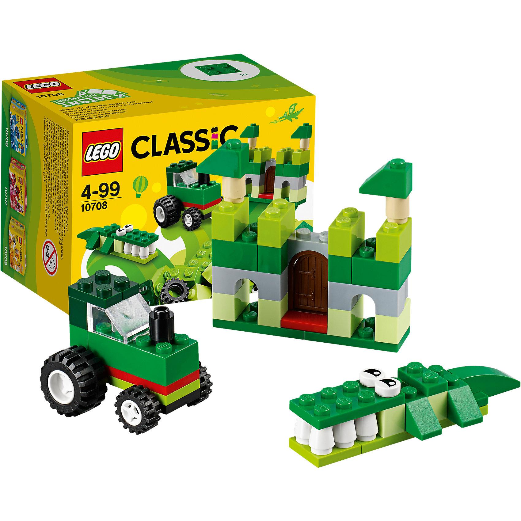 LEGO Classic 10708: Зелёный набор для творчестваПластмассовые конструкторы<br>LEGO Classic 31065: Зелёный набор для творчества<br><br>Характеристики:<br><br>- в набор входит: детали замка, трактора и крокодила, аксессуары, красочная инструкция<br>- состав: пластик<br>- количество деталей: 66 <br>- размер упаковки: 12 * 8 * 9 см.<br>- для детей в возрасте: от 4 лет<br>- Страна производитель: Дания/Китай/Чехия<br><br>Легендарный конструктор LEGO (ЛЕГО) представляет серию «Classic» (Классик), предназначенную для свободного конструирования. В наборы этой серии включены разнообразные детали, позволяющие строить в свое удовольствие и на свое усмотрение. Зелёный набор для творчества включает в себя детали с колесиками, две детали глаз, прозрачную деталь ветрового стекла и стандартные детали. С помощью этого набора можно собрать по инструкции крокодила, замок и трактор, а также придумать свои транспортные средства, своих животных и свой домик. В зелёном наборе представлено пять оттенков зелёного, а также белые, серые, черные и бежевые детали. Играя с конструктором ребенок развивает моторику рук, воображение и логическое мышление. Воплотите в жизнь свои идеи с помощью набора LEGO «Classic»!<br><br>Конструктор LEGO Classic 31065: Зелёный набор для творчества можно купить в нашем интернет-магазине.<br><br>Ширина мм: 123<br>Глубина мм: 88<br>Высота мм: 78<br>Вес г: 95<br>Возраст от месяцев: 48<br>Возраст до месяцев: 144<br>Пол: Унисекс<br>Возраст: Детский<br>SKU: 5002503
