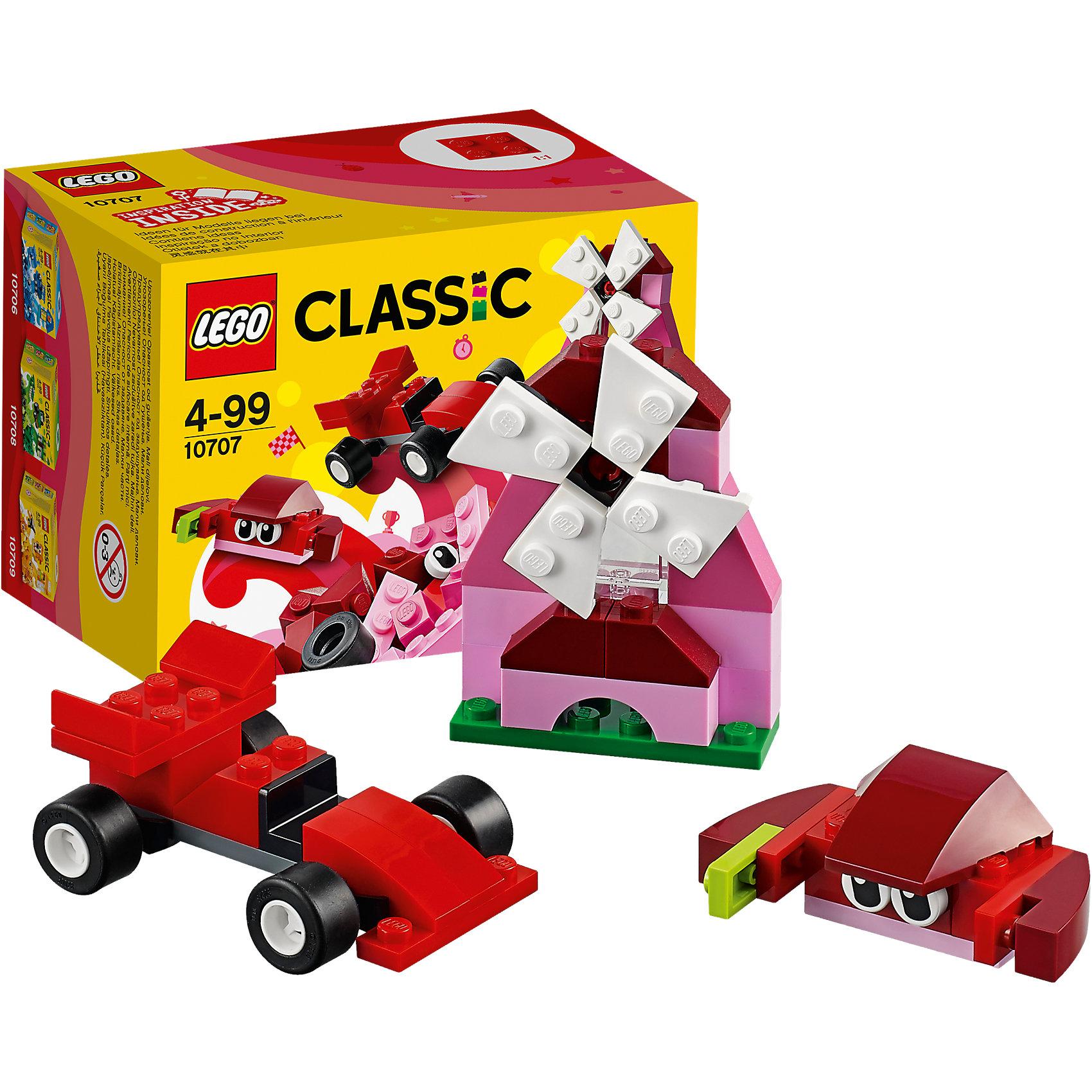 LEGO Classic 10707: Красный набор для творчестваПластмассовые конструкторы<br>LEGO Classic 10707: Красный набор для творчества<br><br>Характеристики:<br><br>- в набор входит: детали гоночного болида, мельницы и краба, аксессуары, красочная инструкция<br>- состав: пластик<br>- количество деталей: 55 <br>- размер упаковки: 12 * 8 * 9 см.<br>- для детей в возрасте: от 4 лет<br>- Страна производитель: Дания/Китай/Чехия<br><br>Легендарный конструктор LEGO (ЛЕГО) представляет серию «Classic» (Классик), предназначенную для свободного конструирования. В наборы этой серии включены разнообразные детали, позволяющие строить в свое удовольствие и на свое усмотрение. Красный набор для творчества включает в себя деталь с колесиками, две детали глаз, крутящиеся детали мельницы и стандартные детали. С помощью этого набора можно собрать по инструкции краба, мельницу и гоночную машину, а также придумать свои транспортные средства, своих животных и свой домик. В красном наборе представлено пять оттенков красного, а также белые, зеленые, черные и салатовые детали. Играя с конструктором ребенок развивает моторику рук, воображение и логическое мышление. Воплотите в жизнь свои идеи с помощью набора LEGO «Classic»!<br><br>Конструктор LEGO Classic 10707: Красный набор для творчества можно купить в нашем интернет-магазине.<br><br>Ширина мм: 122<br>Глубина мм: 90<br>Высота мм: 80<br>Вес г: 89<br>Возраст от месяцев: 48<br>Возраст до месяцев: 144<br>Пол: Унисекс<br>Возраст: Детский<br>SKU: 5002504