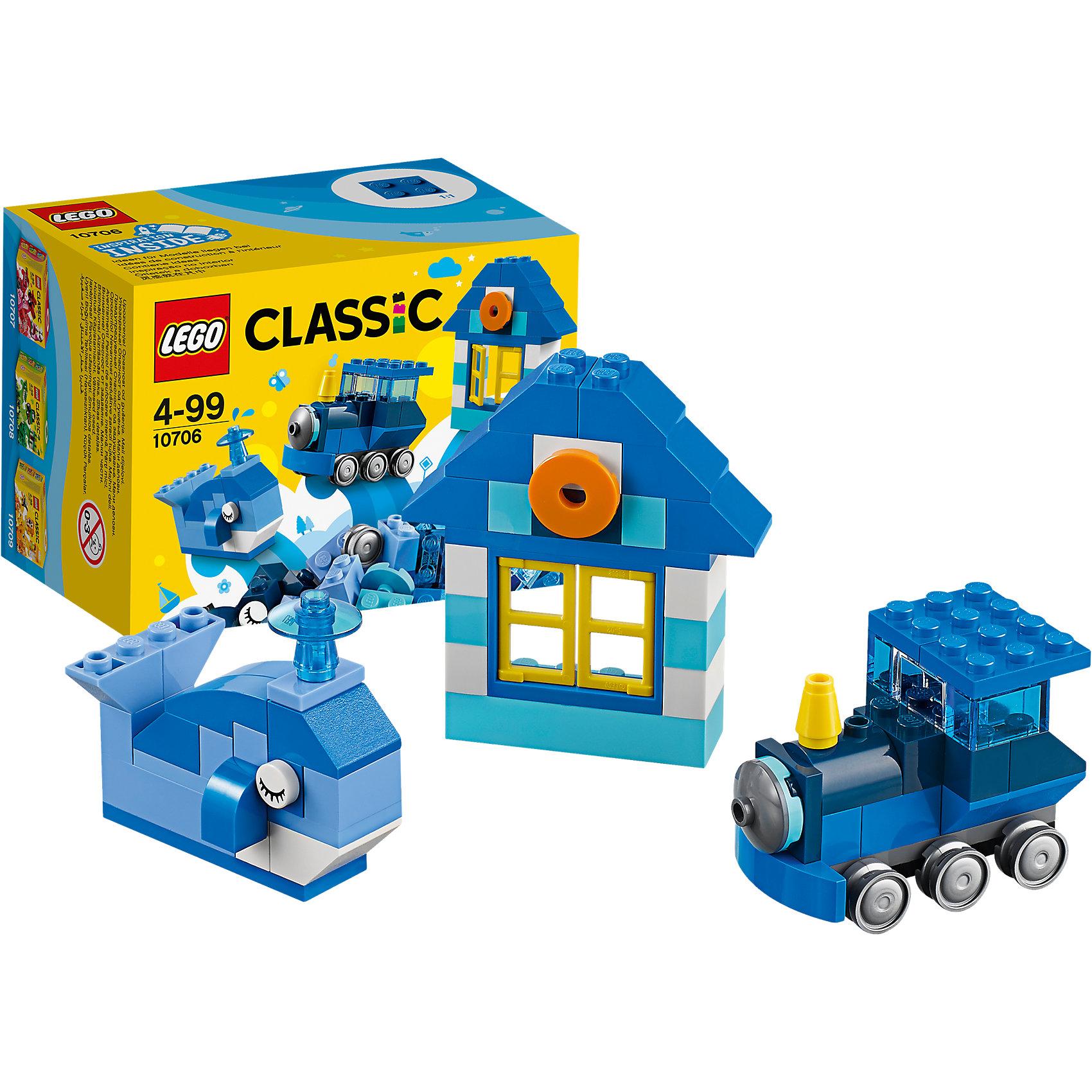 LEGO Classic 10706: Синий набор для творчестваLEGO Classic 10706: Синий набор для творчества<br><br>Характеристики:<br><br>- в набор входит: детали домика, кита и паровоза, аксессуары, красочная инструкция<br>- состав: пластик<br>- количество деталей: 78 <br>- размер упаковки: 12 * 8 * 9 см.<br>- для детей в возрасте: от 4 лет<br>- Страна производитель: Дания/Китай/Чехия<br><br>Легендарный конструктор LEGO (ЛЕГО) представляет серию «Classic» (Классик), предназначенную для свободного конструирования. В наборы этой серии включены разнообразные детали, позволяющие строить в свое удовольствие и на свое усмотрение. Синий набор для творчества включает в себя деталь с колесиками, две детали глаз, открывающееся двухстворчатое окошко, полупрозрачную деталь фонтанчика и стандартные детали. С помощью этого набора можно собрать по инструкции кита, домик и паровоз, а также придумать свои транспортные средства, своих животных и свой домик. В синем наборе представлено пять оттенков синего, а также белые, серые, желтые и оранжевая детали. Играя с конструктором ребенок развивает моторику рук, воображение и логическое мышление. Воплотите в жизнь свои идеи с помощью набора LEGO «Classic»!<br><br>Конструктор LEGO Classic 10706: Синий набор для творчества можно купить в нашем интернет-магазине.<br><br>Ширина мм: 125<br>Глубина мм: 90<br>Высота мм: 78<br>Вес г: 112<br>Возраст от месяцев: 48<br>Возраст до месяцев: 144<br>Пол: Унисекс<br>Возраст: Детский<br>SKU: 5002505