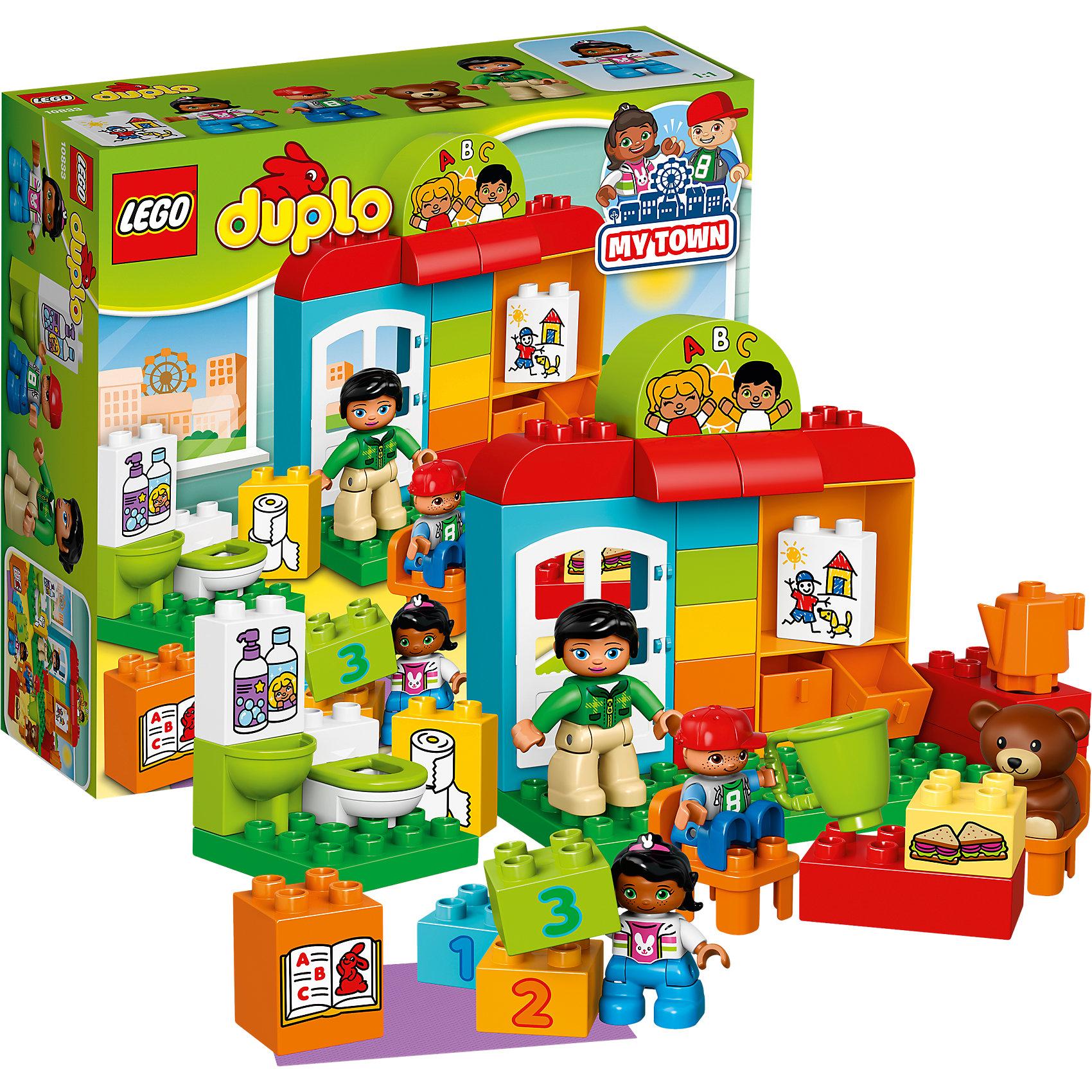 LEGO DUPLO 10833: Детский садLEGO DUPLO 10833: Детский сад<br><br>Характеристики:<br><br>- в набор входит: детали, 3 фигурки людей, фигурка мишки, аксессуары, инструкция<br>- состав: пластик<br>- количество деталей: 39<br>- для детей в возрасте: от 2 до 5 лет<br>- Страна производитель: Дания/Китай/Чехия/<br><br>Легендарный конструктор LEGO (ЛЕГО) представляет серию «DUPLO» (Д?пло) для самых маленьких. Крупные детали безопасны для малышей, а интересная тематика, возможность фантазировать, собирать из конструктора свои фигуры и играть в него приведут кроху в восторг! В этом наборе для детей открывает двери детский садик. Добрая воспитательница научит ребят рисовать картинки, считать, читать, даст вкусные бутерброды. В садике есть все необходимое для детишек от игрушек и ящичков до раковины и туалета. В набор также входит небольшой коврик для игр. Каждая фигурка отлично детализирована, в комплекте имеется фигурка воспитательницы, фигурка девочки и мальчика. Мишка может тоже сидеть на стульчике, как и дети. Играя с этим конструктором дети смогут моделировать ситуации, фантазировать, развивать моторику ручек и создавать новые фигуры. <br><br>Конструктор LEGO DUPLO 10833: Детский сад можно купить в нашем интернет-магазине.<br><br>Ширина мм: 282<br>Глубина мм: 96<br>Высота мм: 262<br>Вес г: 606<br>Возраст от месяцев: 24<br>Возраст до месяцев: 60<br>Пол: Унисекс<br>Возраст: Детский<br>SKU: 5002506