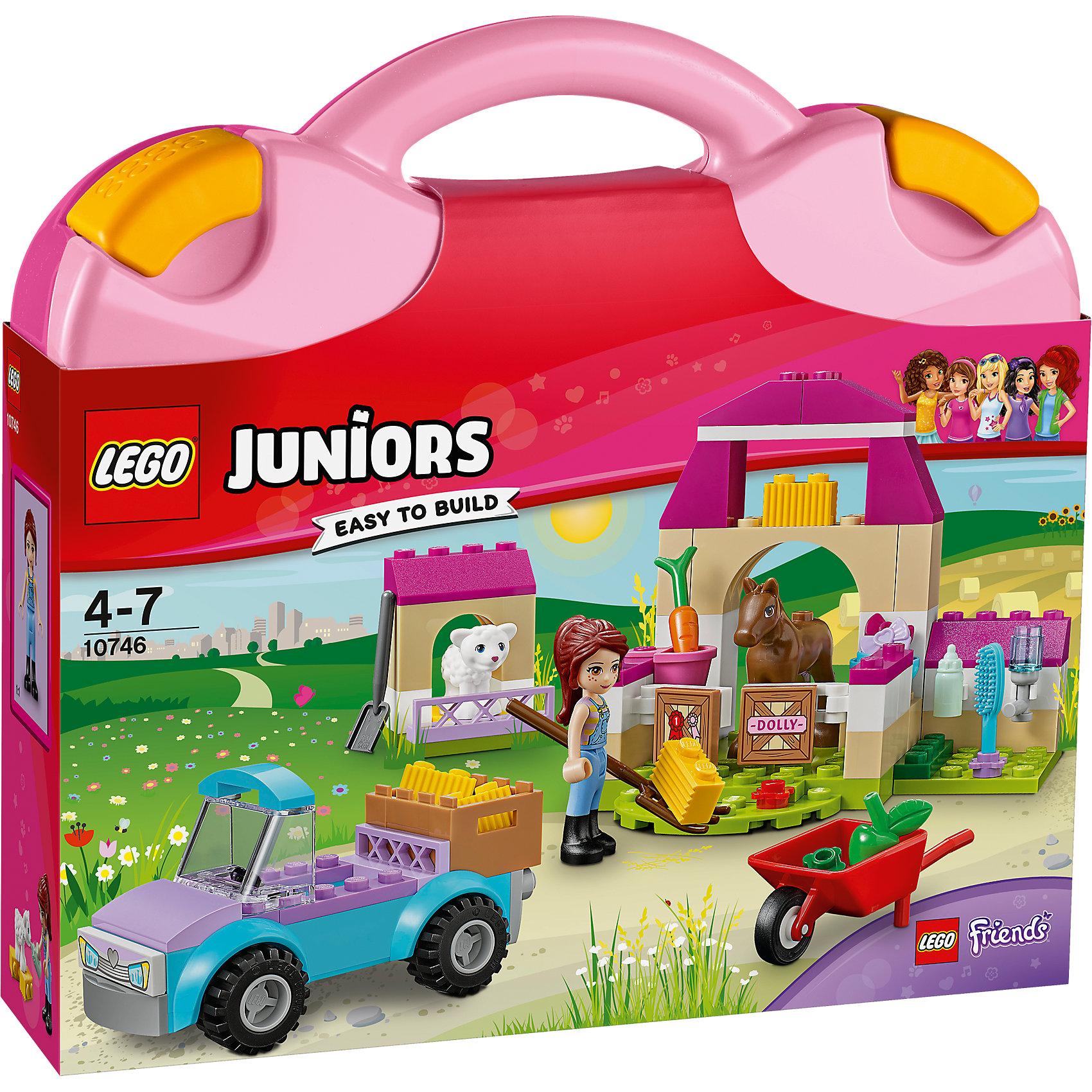 LEGO Juniors 10746: Чемоданчик «Ферма Мии»Пластмассовые конструкторы<br>LEGO Juniors 10746: Чемоданчик «Ферма Мии»<br><br>Характеристики:<br><br>- в набор входит: детали машины, фермы, 2 фигурки животных, фигурка девочки, аксессуары, красочная инструкция<br>- состав: пластик<br>- количество деталей: 100 <br>- размер чемоданчика: 28 * 6 * 26 см.<br>- размер машины: 9 * 4 * 4 см.<br>- для детей в возрасте: от 4 до 7 лет<br>- Страна производитель: Дания/Китай/Чехия<br><br>Легендарный конструктор LEGO (ЛЕГО) представляет серию «Juniors» (Джуниорс) для новичков в строительстве из конструктора ЛЕГО. Набор «Ферма Мии» включает в себя все необходимое для игры в ферму. Трудолюбивая Мия выращивает на своей ферме лошадку и овечку. Она собирает урожай в небольшую тачку с помощью вил и лопаты и кормит зверей яблоками, морковью и сеном. Ее ферма оснащена всем необходимым для ухода за животными, специальные поилки, бутылочка для еще маленькой овечки, расческа для гладкой и шелковистой шерстки. Мия планирует отвезти животных на фермерскую выставку и получить там первые места. В набор входят два бантика для смены прически девочки. Все детали набора легко собираются и в них можно уже играть. Благодаря удобному пластиковому чемоданчику на защелках конструктор можно эргономично хранить. Играя с конструктором ребенок развивает моторику рук, воображение и логическое мышление. Придумывайте новые игры с набором LEGO «Juniors»!<br><br>Конструктор LEGO Juniors 10746: Чемоданчик «Ферма Мии» можно купить в нашем интернет-магазине.<br><br>Ширина мм: 284<br>Глубина мм: 266<br>Высота мм: 71<br>Вес г: 736<br>Возраст от месяцев: 48<br>Возраст до месяцев: 84<br>Пол: Женский<br>Возраст: Детский<br>SKU: 5002507