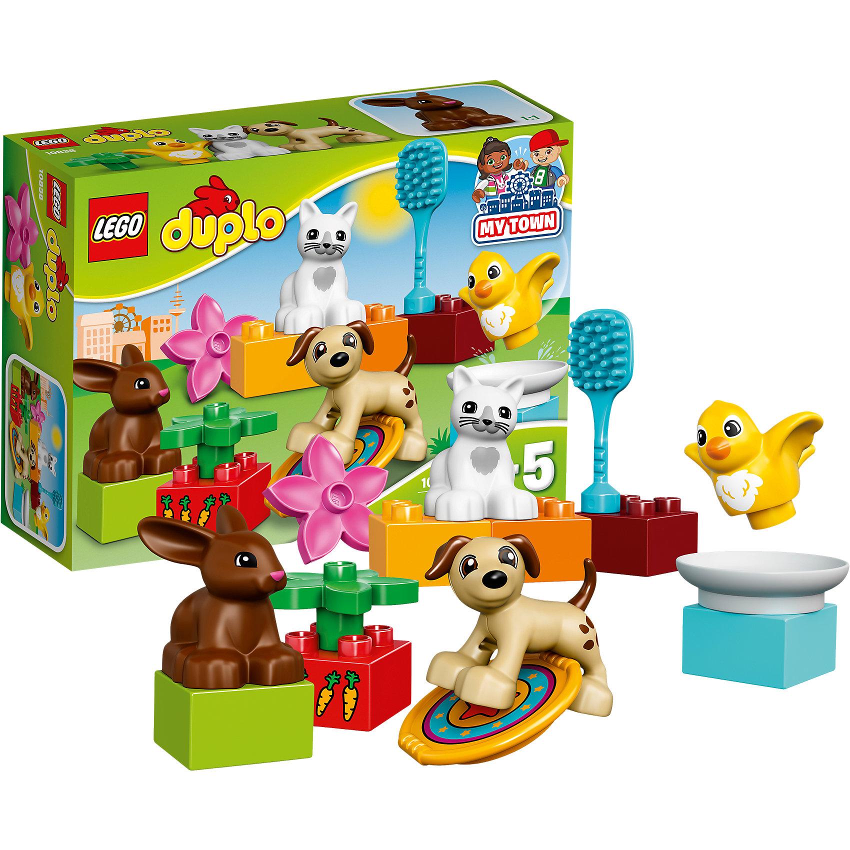 LEGO DUPLO 10838: Домашние животныеПластмассовые конструкторы<br>LEGO DUPLO 10838: Домашние животные<br><br>Характеристики:<br><br>- в набор входит: детали, 4 фигурки животных, аксессуары, инструкция<br>- состав: пластик<br>- количество деталей: 15<br>- для детей в возрасте: от 2 до 5 лет<br>- Страна производитель: Дания/Китай/Чехия/<br><br>Легендарный конструктор LEGO (ЛЕГО) представляет серию «DUPLO» (Д?пло) для самых маленьких. Крупные детали безопасны для малышей, а интересная тематика, возможность фантазировать, собирать из конструктора свои фигуры и играть в него приведут кроху в восторг! В этом наборе вместе дружно живут кошечка, кролик, собачка и цыпленок. Каждая фигурка качественно детализирована и отлично прорисована. В набор входит тарелка для еды или для купания, расческа, диск фрисби, два цветочка, а также блок с нарисованными морковками. Малыш сможет ухаживать за домашними животными, придумывать им имена, а также  новые истории про них. Играя с этим конструктором дети смогут моделировать ситуации, фантазировать, развивать моторику ручек и создавать новые фигуры. <br><br>Конструктор LEGO DUPLO 10838: Домашние животные можно купить в нашем интернет-магазине.<br><br>Ширина мм: 195<br>Глубина мм: 142<br>Высота мм: 63<br>Вес г: 152<br>Возраст от месяцев: 24<br>Возраст до месяцев: 60<br>Пол: Унисекс<br>Возраст: Детский<br>SKU: 5002508