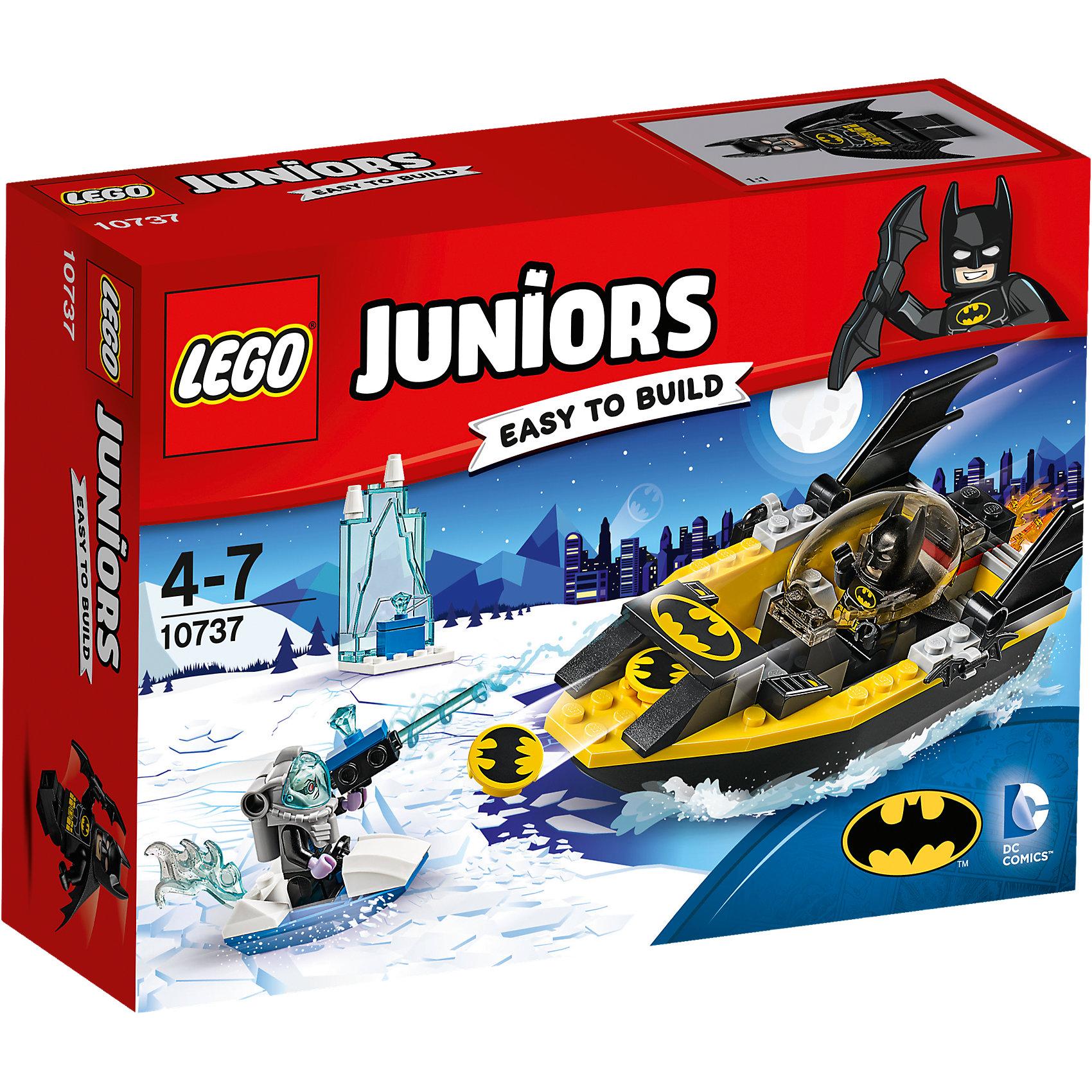 LEGO Juniors 10737: Бэтмен против Мистера ФризаПластмассовые конструкторы<br>LEGO Juniors 10737: Бэтмен против Мистера Фриза<br><br>Характеристики:<br><br>- в набор входит: детали Бэтлодки, ледяного катера, ледяной тюрьмы, 2 минифигурки, аксессуары, красочная инструкция<br>- минифигурки набора: Мистер Фриз, Бэтмен<br>- состав: пластик<br>- количество деталей: 63 <br>- размер упаковки: 19 * 6 * 14 см.<br>- размер Бэтлодки: 15 * 5 * 5 см.<br>- для детей в возрасте: от 4 до 7 лет<br>- Страна производитель: Дания/Китай/Чехия<br><br>Легендарный конструктор LEGO (ЛЕГО) представляет серию «Juniors» (Джуниорс) для новичков в строительстве из конструктора ЛЕГО. Набор «Бэтмен против Мистера Фриза» состоит из большой Бэтлодки с закрывающейся прозрачной кабиной и небольшого катера Мистера Фриза. Сам злодей похитил два ледяных камня для своего оружия и хранит один из них в своей ледяной тюрьме в морях города Готем Сити. Борец за справедливость Бэтмен на своей лодке мчится чтобы забрать украденное. Фигурка Бэтмена выполнена очень качественно, он представлен в своем классическом черном бэткостюме с маской и плащом. Из оружия Бэтмен взял свои два любимых бэтаранга. Мистер Фриз носит специальный костюм, позволяющий ему находиться под водой и вооружен ледяным бластером. Благодаря крупным деталям лодки легко строить, а наличие разных тематических аксессуаров позволит игре быть еще более реалистичной. Играя с конструктором ребенок развивает моторику рук, воображение и логическое мышление. Придумывайте новые игры с набором LEGO «Juniors»!<br><br>Конструктор LEGO Juniors 10737: Бэтмен против Мистера Фриза можно купить в нашем интернет-магазине.<br><br>Ширина мм: 196<br>Глубина мм: 139<br>Высота мм: 63<br>Вес г: 173<br>Возраст от месяцев: 48<br>Возраст до месяцев: 84<br>Пол: Мужской<br>Возраст: Детский<br>SKU: 5002509