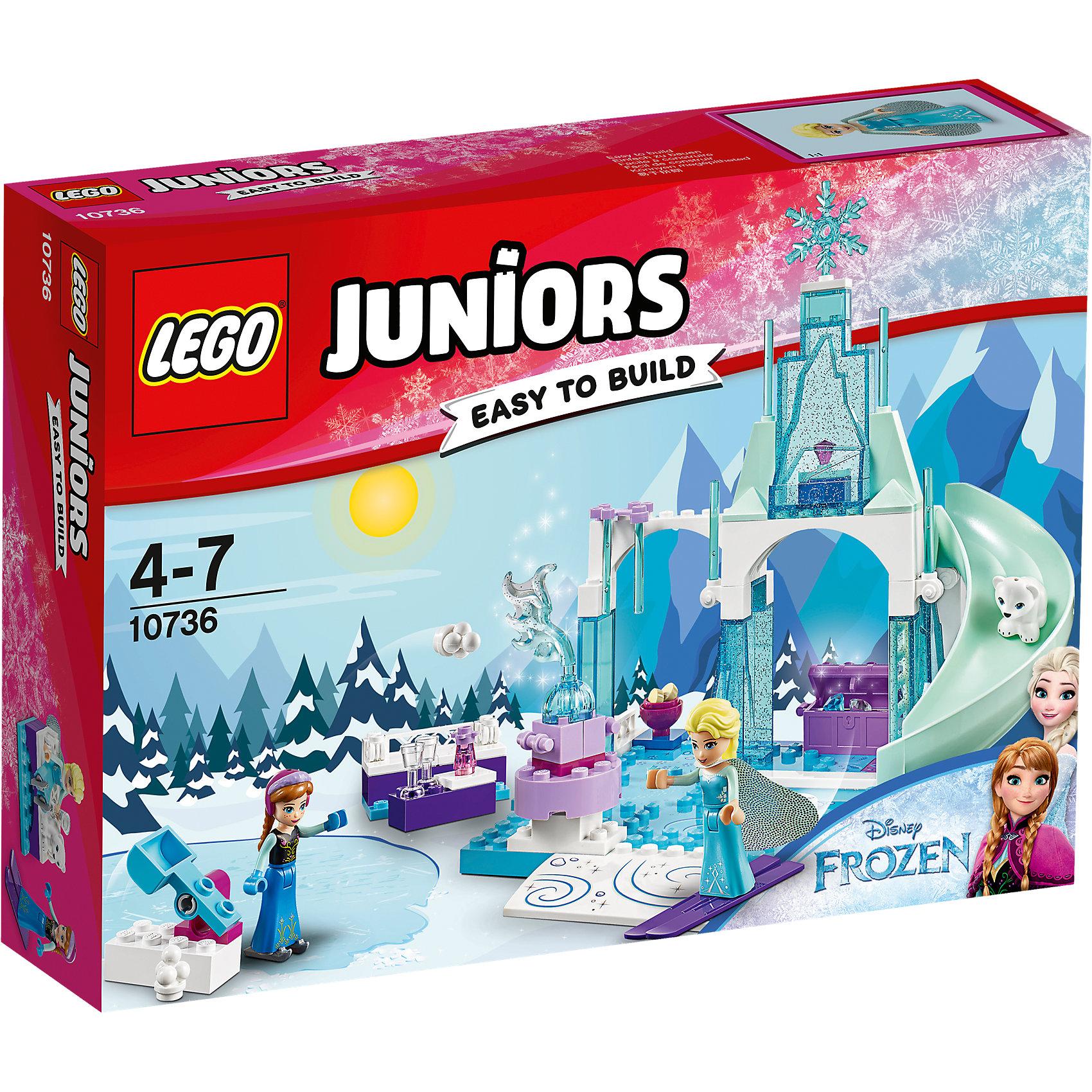 LEGO Juniors 10736: Игровая площадка Эльзы и АнныКонструкторы Лего<br>LEGO Juniors 10736: Игровая площадка Эльзы и Анны<br><br>Характеристики:<br><br>- в набор входит: детали ледяной площадки, 3 фигурки, аксессуары, красочная инструкция<br>- фигурки набора: Анна, Эльза и фигурка белого медвежонка<br>- состав: пластик<br>- количество деталей: 94 <br>- размер упаковки: 26 * 5 * 19 см.<br>- размер ледяной площадки: 20 * 15 * 18 см.<br>- для детей в возрасте: от 4 до 7 лет<br>- Страна производитель: Дания/Китай/Чехия<br><br>Легендарный конструктор LEGO (ЛЕГО) представляет серию «Juniors» (Джуниорс) для новичков в строительстве из конструктора ЛЕГО. Набор «Игровая площадка Эльзы и Анны» включает в себя большую двухуровневую ледяную площадку для игр, украшенную ледяными сосульками, прозрачными деталями с блестками внутри, снежинками, замерзшим фонтаном и наполненную аксессуарами. Большая горка подарит много веселья двум сестрам в морозный день, они могут забираться на нее по лестнице и скатываться вместе с медвежонком. Красивый лиловый сундучок хранит в себе два драгоценных камня. Специальная катапульта для снежков сделает игры девочек со снежками еще интереснее. Эльза взяла с собой свои фиолетовые лыжи, а Анна захватила с собой коньки, сестры очень любят кататься и отлично проводить время вместе! После насыщенных игр Анна и Эльза могут присесть на снежную скамейку с горячими напитками и отдохнуть, в набор входят два кристальных кубка для каждой из девочек и печенье для медвежонка. Благодаря крупным деталям площадку легко строить, а наличие разных тематических аксессуаров позволит игре быть еще более реалистичной. Играя с конструктором ребенок развивает моторику рук, воображение и логическое мышление. Придумывайте новые игры с набором LEGO «Juniors»!<br><br>Конструктор LEGO Juniors 10736: Игровая площадка Эльзы и Анны можно купить в нашем интернет-магазине.<br><br>Ширина мм: 263<br>Глубина мм: 190<br>Высота мм: 60<br>Вес г: 322<br>Возраст от месяцев: 48<br>Возраст до меся