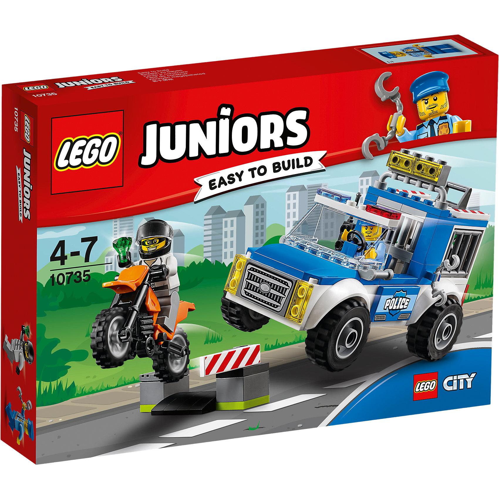 LEGO Juniors 10735: Погоня на полицейском грузовикеLEGO Juniors 10735: Погоня на полицейском грузовике<br><br>Характеристики:<br><br>- в набор входит: детали полицейской машины, мотоцикла, 2 минифигурки, аксессуары, красочная инструкция<br>- минифигурки набора: полицейский и преступник<br>- состав: пластик<br>- количество деталей: 90 <br>- размер упаковки: 26 * 5 * 19 см.<br>- для детей в возрасте: от 4 до 7 лет<br>- Страна производитель: Дания/Китай/Чехия<br><br>Легендарный конструктор LEGO (ЛЕГО) представляет серию «Juniors» (Джуниорс) для новичков в строительстве из конструктора ЛЕГО. Набор «Погоня на полицейском грузовике» включает в себя два транспортных средства: мотоцикл (6 * 3 * 5 см.), полицейская машина (13 * 6 * 8 см.). В полицейской машине имеется отсек для арестованных преступников. В набор входят две минифигурки: самого полицейского в униформе с рацией и наручниками, и преступника в шлеме и с украденным изумрудом. Небольшая постройка со шлагбаумом для засад позволяет игре быть еще более реалистичной. Играя с конструктором ребенок развивает моторику рук, воображение и логическое мышление. Придумывайте новые игры с набором LEGO «Juniors»!<br><br>Конструктор LEGO Juniors 10735: Погоня на полицейском грузовике можно купить в нашем интернет-магазине.<br><br>Ширина мм: 263<br>Глубина мм: 190<br>Высота мм: 48<br>Вес г: 267<br>Возраст от месяцев: 48<br>Возраст до месяцев: 84<br>Пол: Мужской<br>Возраст: Детский<br>SKU: 5002511