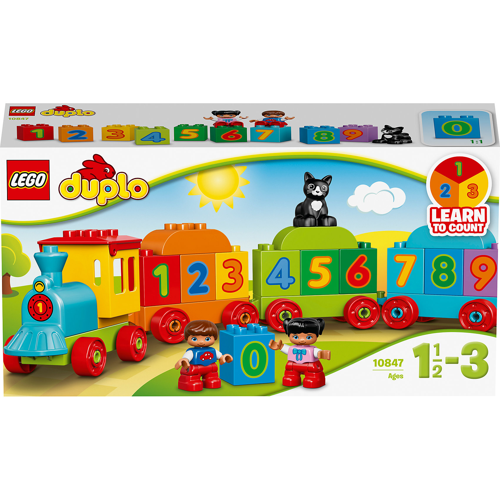 LEGO DUPLO 10847: Поезд «Считай и играй»Пластмассовые конструкторы<br>LEGO DUPLO 10847: Поезд «Считай и играй»<br><br>Характеристики:<br><br>- в набор входит: детали поезда, 2 фигурки детей, 1 фигурка кота, инструкция<br>- состав: пластик<br>- количество деталей: 24<br>- для детей в возрасте: от 2 до 5 лет<br>- Страна производитель: Дания/Китай/Чехия/<br><br>Легендарный конструктор LEGO (ЛЕГО) представляет серию «DUPLO» (Д?пло) для самых маленьких. Крупные детали безопасны для малышей, а интересная тематика, возможность фантазировать, собирать из конструктора свои фигуры и играть в него приведут кроху в восторг! В этом интересном наборе с поездом и тремя вагонами едут цифры. Поезд можно перестраивать на свой вкус, даже превратив вагон в башню из цифр. Веселый черный кот поможет выучить цифры и научиться считать. Фигурки мальчика и девочки отлично детализированы и качественно прорисованы. Мальчик и девочка радуются своим новым приключениям, а также умному коту. Играя с этим конструктором ребенок сможет развить внимание, память, моторику ручек, а также творческие способности. <br><br>Конструктор  LEGO DUPLO 10847: Поезд «Считай и играй» можно купить в нашем интернет-магазине.<br><br>Ширина мм: 356<br>Глубина мм: 193<br>Высота мм: 93<br>Вес г: 524<br>Возраст от месяцев: 12<br>Возраст до месяцев: 36<br>Пол: Унисекс<br>Возраст: Детский<br>SKU: 5002513