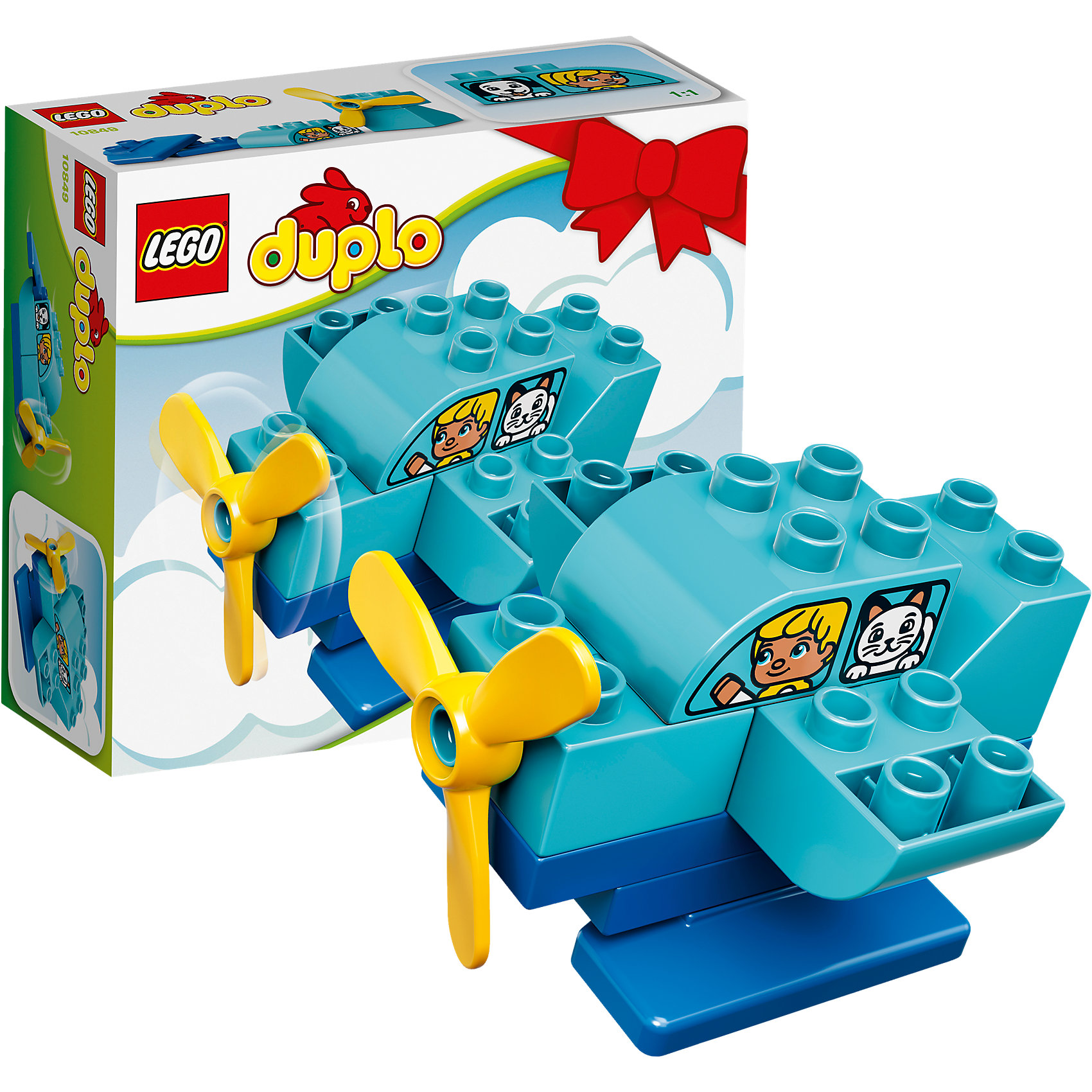 LEGO DUPLO 10849: Мой первый самолётПластмассовые конструкторы<br>LEGO DUPLO 10849: Мой первый самолёт<br><br>Характеристики:<br><br>- в набор входит: детали самолета, инструкция<br>- состав: пластик<br>- количество деталей: 10<br>- для детей в возрасте: от 1,5 до 3 лет<br>- Страна производитель: Дания/Китай/Чехия/<br><br>Легендарный конструктор LEGO (ЛЕГО) представляет серию «DUPLO» (Д?пло) для самых маленьких. Крупные детали безопасны для малышей, а интересная тематика, возможность фантазировать, собирать из конструктора свои фигуры и играть в него приведут кроху в восторг! В этом небольшойм наборе представлен самолет с ребенком и кошечкой. Набор подойдет как первый конструктор малыша, так как изготовлен из качественного пластика и отлично детализирован. Пропеллер самолета крутится, что делает конструктор еще более интересным. Играя с этим конструктором ребенок сможет развить внимание, память, моторику ручек, а также творческие способности. <br><br>Конструктор  LEGO DUPLO 10849: Мой первый самолёт можно купить в нашем интернет-магазине.<br><br>Ширина мм: 159<br>Глубина мм: 142<br>Высота мм: 66<br>Вес г: 123<br>Возраст от месяцев: 12<br>Возраст до месяцев: 36<br>Пол: Мужской<br>Возраст: Детский<br>SKU: 5002514