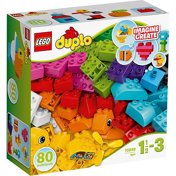 LEGO DUPLO 10848: Мои первые кубикиПластмассовые конструкторы<br>LEGO DUPLO 10848: Мои первые кубики<br><br>Характеристики:<br><br>- в набор входит: детали цветочка, утенка, рыбки, вертолета и сердечке, инструкция<br>- состав: пластик<br>- количество деталей: 80<br>- для детей в возрасте: от 1,5 до 3 лет<br>- Страна производитель: Дания/Китай/Чехия/<br><br>Легендарный конструктор LEGO (ЛЕГО) представляет серию «DUPLO» (Д?пло) для самых маленьких. Крупные детали безопасны для малышей, а интересная тематика, возможность фантазировать, собирать из конструктора свои фигуры и играть в него приведут кроху в восторг! В этом интересном наборе представлено 80 деталей, из которых можно собрать по инструкции рыбку, утенка, цветочек, сердечко и вертолет. Конечно же, малыш также сможет придумывать своих животных и свои фигурки. Пропеллер вертолета крутится. Ряд преимуществ предоставляет конструктор перед кубиками, ведь собирая животных и домики детальки не разъединятся при неловком движении. Играя с этим конструктором ребенок сможет развить внимание, память, моторику ручек, а также творческие способности. <br><br>Конструктор  LEGO DUPLO 10848: Мои первые кубики можно купить в нашем интернет-магазине.<br>Ширина мм: 292; Глубина мм: 289; Высота мм: 119; Вес г: 906; Возраст от месяцев: 12; Возраст до месяцев: 36; Пол: Унисекс; Возраст: Детский; SKU: 5002515;