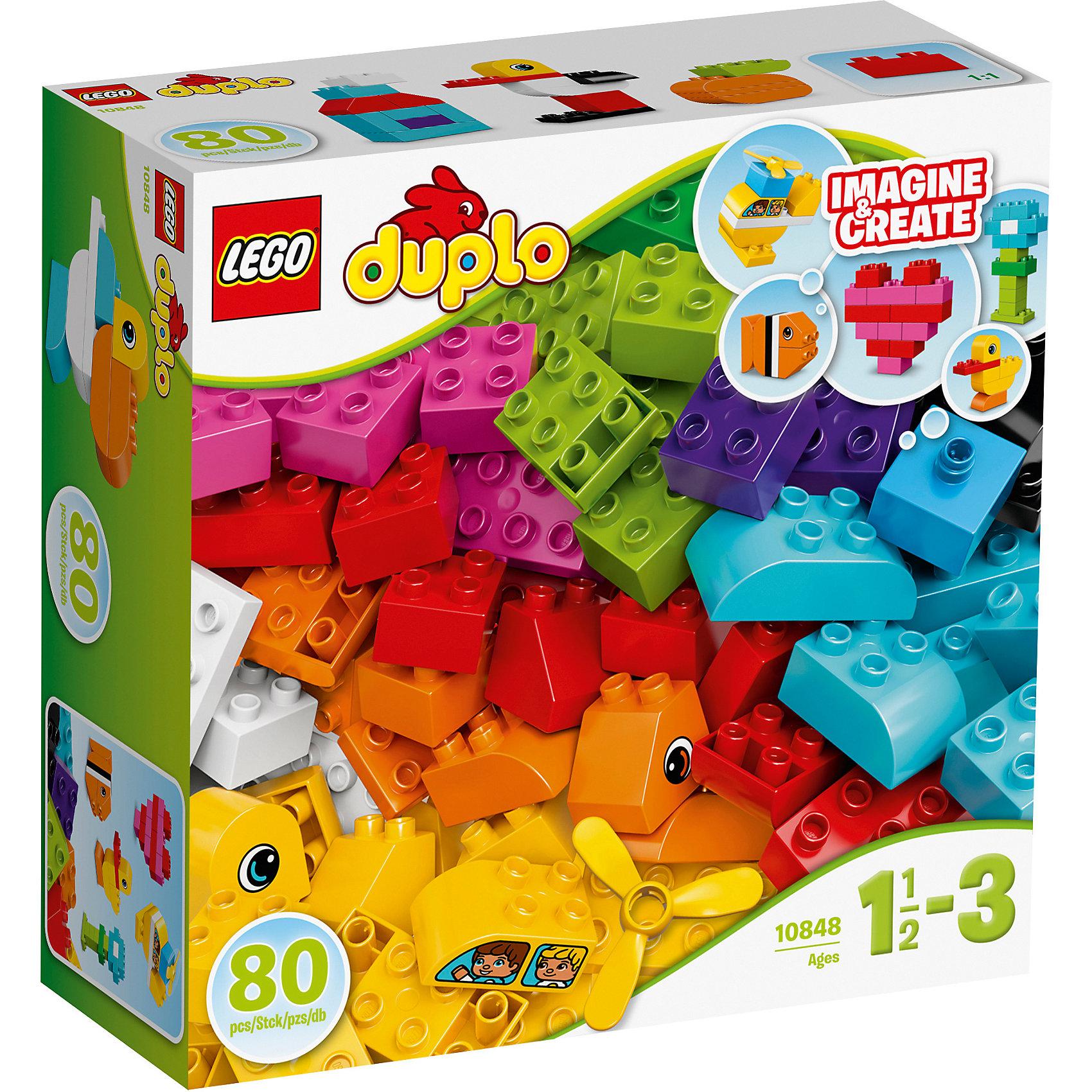 LEGO DUPLO 10848: Мои первые кубикиПластмассовые конструкторы<br>LEGO DUPLO 10848: Мои первые кубики<br><br>Характеристики:<br><br>- в набор входит: детали цветочка, утенка, рыбки, вертолета и сердечке, инструкция<br>- состав: пластик<br>- количество деталей: 80<br>- для детей в возрасте: от 1,5 до 3 лет<br>- Страна производитель: Дания/Китай/Чехия/<br><br>Легендарный конструктор LEGO (ЛЕГО) представляет серию «DUPLO» (Д?пло) для самых маленьких. Крупные детали безопасны для малышей, а интересная тематика, возможность фантазировать, собирать из конструктора свои фигуры и играть в него приведут кроху в восторг! В этом интересном наборе представлено 80 деталей, из которых можно собрать по инструкции рыбку, утенка, цветочек, сердечко и вертолет. Конечно же, малыш также сможет придумывать своих животных и свои фигурки. Пропеллер вертолета крутится. Ряд преимуществ предоставляет конструктор перед кубиками, ведь собирая животных и домики детальки не разъединятся при неловком движении. Играя с этим конструктором ребенок сможет развить внимание, память, моторику ручек, а также творческие способности. <br><br>Конструктор  LEGO DUPLO 10848: Мои первые кубики можно купить в нашем интернет-магазине.<br><br>Ширина мм: 292<br>Глубина мм: 289<br>Высота мм: 116<br>Вес г: 884<br>Возраст от месяцев: 12<br>Возраст до месяцев: 36<br>Пол: Унисекс<br>Возраст: Детский<br>SKU: 5002515
