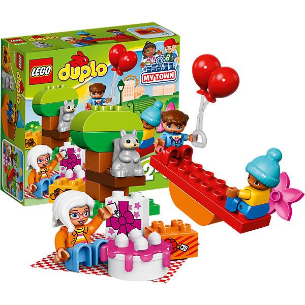 LEGO DUPLO 10832: День рожденияПластмассовые конструкторы<br>LEGO DUPLO 10832: День рождения<br><br>Характеристики:<br><br>- в набор входит: детали, 3 фигурки людей, фигурка белки, аксессуары, инструкция<br>- состав: пластик<br>- количество деталей: 19<br>- для детей в возрасте: от 2 до 5 лет<br>- Страна производитель: Дания/Китай/Чехия/<br><br>Легендарный конструктор LEGO (ЛЕГО) представляет серию «DUPLO» (Д?пло) для самых маленьких. Крупные детали безопасны для малышей, а интересная тематика, возможность фантазировать, собирать из конструктора свои фигуры и играть в него приведут кроху в восторг! В этом наборе бабушка устраивает день рождение своих внуков на пикнике в парке. Каждая фигурка отлично детализирована, в комплекте фигурки бабушки, девочки и мальчика. Расстелив клетчатое покрывало из комплекта бабушка достала сладкий торт и, конечно же, подарки. На раскидистом дубе сидит серенькая белочка, а под нам лежит горка желудей. Дети любят отдыхать с бабушкой в парке, а также кататься на качелях. Играя с этим конструктором дети смогут моделировать ситуации, фантазировать, развивать моторику ручек и создавать новые фигуры. <br><br>Конструктор LEGO DUPLO 10832: День рождения можно купить в нашем интернет-магазине.<br>Ширина мм: 206; Глубина мм: 187; Высота мм: 76; Вес г: 282; Возраст от месяцев: 24; Возраст до месяцев: 60; Пол: Унисекс; Возраст: Детский; SKU: 5002516;