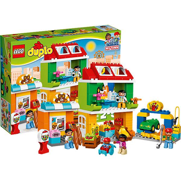 LEGO DUPLO 10836: Городская площадьПластмассовые конструкторы<br>LEGO DUPLO 10836: Городская площадь<br><br>Характеристики:<br><br>- в набор входит: детали, 5 фигурок, машинка, аксессуары, инструкция<br>- состав: пластик<br>- количество деталей: 98<br>- для детей в возрасте: от 2 до 5 лет<br>- Страна производитель: Дания/Китай/Чехия/<br><br>Легендарный конструктор LEGO (ЛЕГО) представляет серию «DUPLO» (Д?пло) для самых маленьких. Крупные детали безопасны для малышей, а интересная тематика, возможность фантазировать, собирать из конструктора свои фигуры и играть в него приведут кроху в восторг! В этом шикарном наборе представлена целая городская площадь. Целых пять отлично прорисованных фигурок включены в комплект. Доктор, пекарь, механик, мама и ребенок в коляске. На площади можно встретить французскую пекарню с духовым шкафом и открывающейся дверцей, багетами, кренделями и тортом, магазинчик с овощами и фруктами в ящичках. Так как площадь находится в центре города, то тут есть и поликлиника, куда можно обратиться к врачу, у него есть стетоскоп, стол для пациентов, специальный лего блок с рисунками для проверки зрения. Если у вас неполадки с автомобилем, то мастерская на центральной площади вам поможет. Опытный механик с ключом и двигающейся подставкой для диагностики машины будет рад осуществить необходимый ремонт. Также здесь можно и заправиться бензином. Вы можете менять магазинчики и здания на свое усмотрение и строить их на свой вкус. Играя с этим конструктором дети смогут моделировать ситуации, фантазировать, развивать моторику ручек и создавать новые фигуры. <br><br>Конструктор LEGO DUPLO 10836: Городская площадь можно купить в нашем интернет-магазине.<br><br>Ширина мм: 481<br>Глубина мм: 375<br>Высота мм: 114<br>Вес г: 1691<br>Возраст от месяцев: 24<br>Возраст до месяцев: 60<br>Пол: Унисекс<br>Возраст: Детский<br>SKU: 5002518