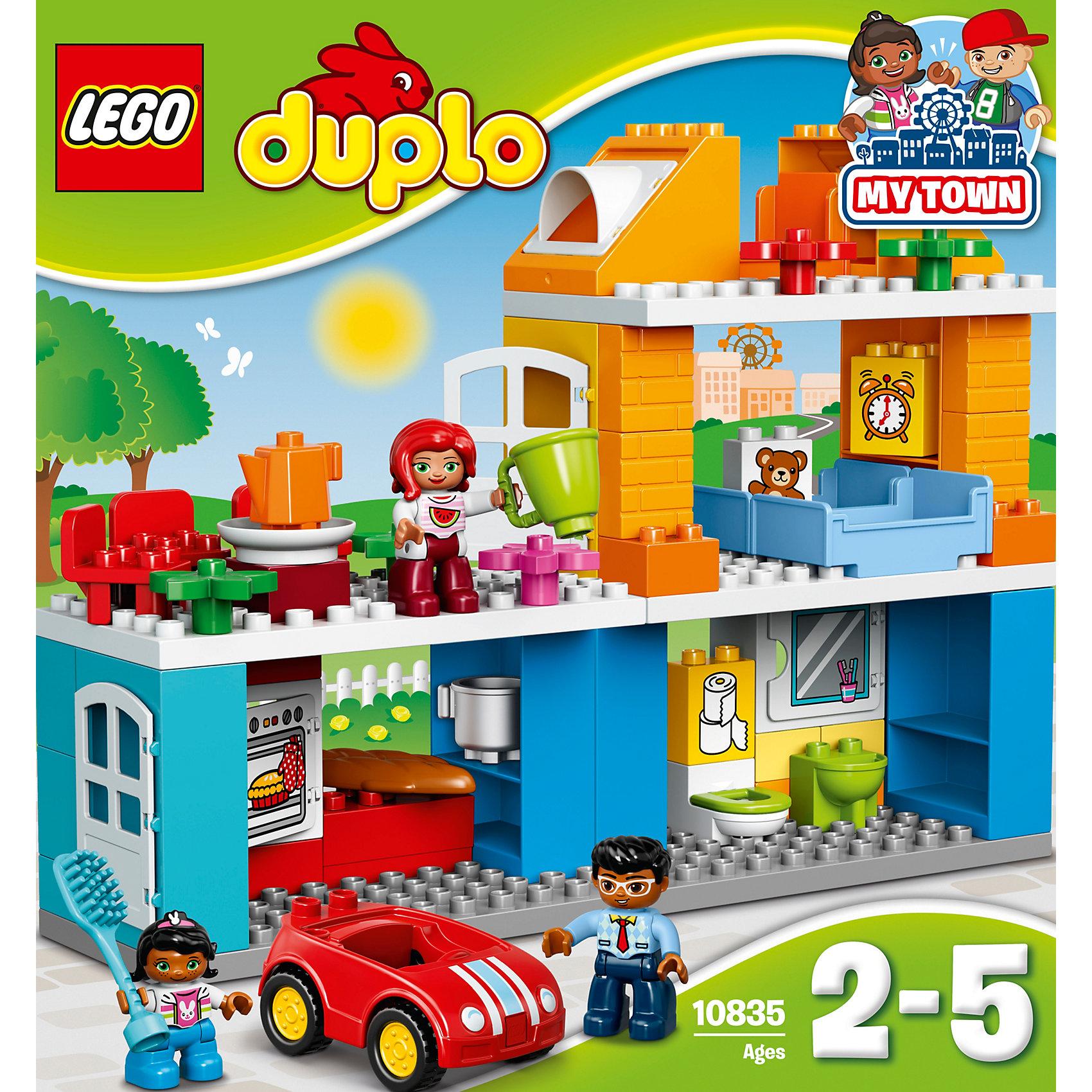 LEGO DUPLO 10835: Семейный домLEGO DUPLO 10835: Семейный дом<br><br>Характеристики:<br><br>- в набор входит: детали, 3 фигурки людей, машинка, аксессуары, инструкция<br>- состав: пластик<br>- количество деталей: 69<br>- для детей в возрасте: от 2 до 5 лет<br>- Страна производитель: Дания/Китай/Чехия/<br><br>Легендарный конструктор LEGO (ЛЕГО) представляет серию «DUPLO» (Д?пло) для самых маленьких. Крупные детали безопасны для малышей, а интересная тематика, возможность фантазировать, собирать из конструктора свои фигуры и играть в него приведут кроху в восторг! В этом шикарном наборе представлен настоящий трехэтажный дом и небольшая семья. В доме есть все необходимое включая кухню, спальню, туалет и даже комнатный цветок. Дверца в дом открывается, а также и дверца духового шкафа и полочки в ванной. Все стены также являются полочками для хранения аксессуаров, в комплект которых входит расческа, кухонная утварь (кастрюля, чайник, тарелка), хлеб. На блоках нарисованы игрушечный мишка, будильник, туалетная бумага. Три стульчика для всех членов семьи, а также две кровати предоставлены в наборе. Каждая фигурка отлично детализирована, в комплекте имеется фигурка мамы, папы и девочки. У этой семьи есть и машина – яркая, красная с крутящимися колесиками, но без заводного механизма. Набор предоставит все необходимое для игры, вам останется только придумать где будет какая комната и как зовут членов семьи. Играя с этим конструктором дети смогут моделировать ситуации, фантазировать, развивать моторику ручек и создавать новые фигуры. <br><br>Конструктор LEGO DUPLO 10835: Семейный дом можно купить в нашем интернет-магазине.<br><br>Ширина мм: 377<br>Глубина мм: 350<br>Высота мм: 121<br>Вес г: 1341<br>Возраст от месяцев: 24<br>Возраст до месяцев: 60<br>Пол: Унисекс<br>Возраст: Детский<br>SKU: 5002519