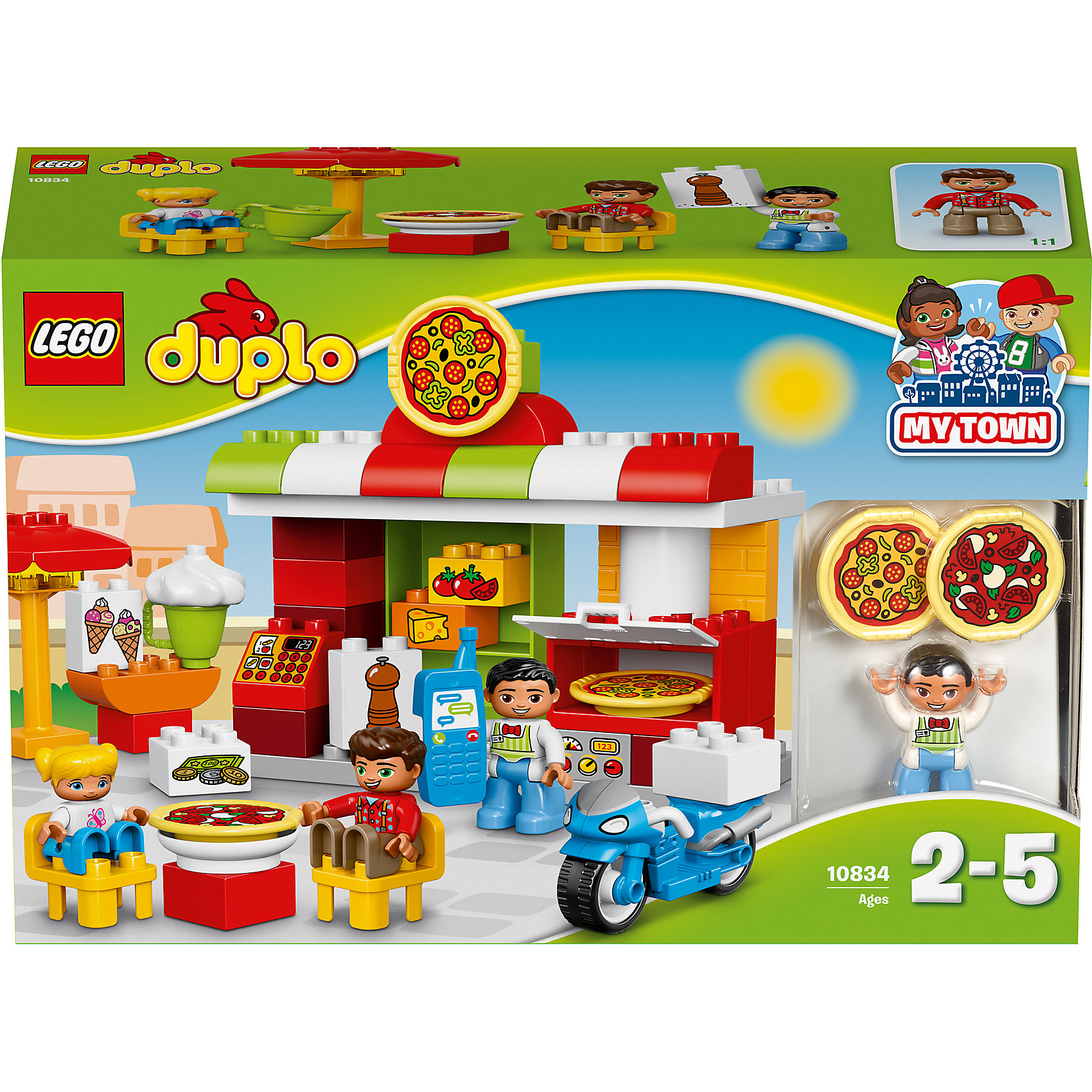 LEGO DUPLO 10834: ПиццерияLEGO DUPLO 10834: Пиццерия<br><br>Характеристики:<br><br>- в набор входит: детали, 3 фигурки людей, скутер, аксессуары, инструкция<br>- состав: пластик<br>- количество деталей: 57<br>- для детей в возрасте: от 2 до 5 лет<br>- Страна производитель: Дания/Китай/Чехия/<br><br>Легендарный конструктор LEGO (ЛЕГО) представляет серию «DUPLO» (Д?пло) для самых маленьких. Крупные детали безопасны для малышей, а интересная тематика, возможность фантазировать, собирать из конструктора свои фигуры и играть в него приведут кроху в восторг! В этом шикарном наборе представлена настоящая пиццерия. Веселый итальянский повар готов приготовить детишкам два вида пиццы. В пиццерии имеется печь для изготовления первоклассной пиццы, необходимые ингридиенты изображены на детальках лего, которые убираются на полочку, также в пиццерии можно заказать мороженное. На кассе оплачиваются заказы, но можно и заказать пиццу по телефону, ведь он в пиццерии имеется. Синий фирменный скутер поможет доставить заказ быстро и не дать ароматной пицце остынуть. В случае дождя над столиком можно поставить зонтик. Каждая фигурка отлично детализирована, в комплекте имеется фигурка повара, фигурка девочки и мальчика. Набор предоставит все необходимое для игры, вам останется только придумать название для своей новой итальянской пицццерии. Играя с этим конструктором дети смогут моделировать ситуации, фантазировать, развивать моторику ручек и создавать новые фигуры. <br><br>Конструктор LEGO DUPLO 10834: Пиццерия можно купить в нашем интернет-магазине.<br><br>Ширина мм: 387<br>Глубина мм: 263<br>Высота мм: 124<br>Вес г: 945<br>Возраст от месяцев: 24<br>Возраст до месяцев: 60<br>Пол: Унисекс<br>Возраст: Детский<br>SKU: 5002520