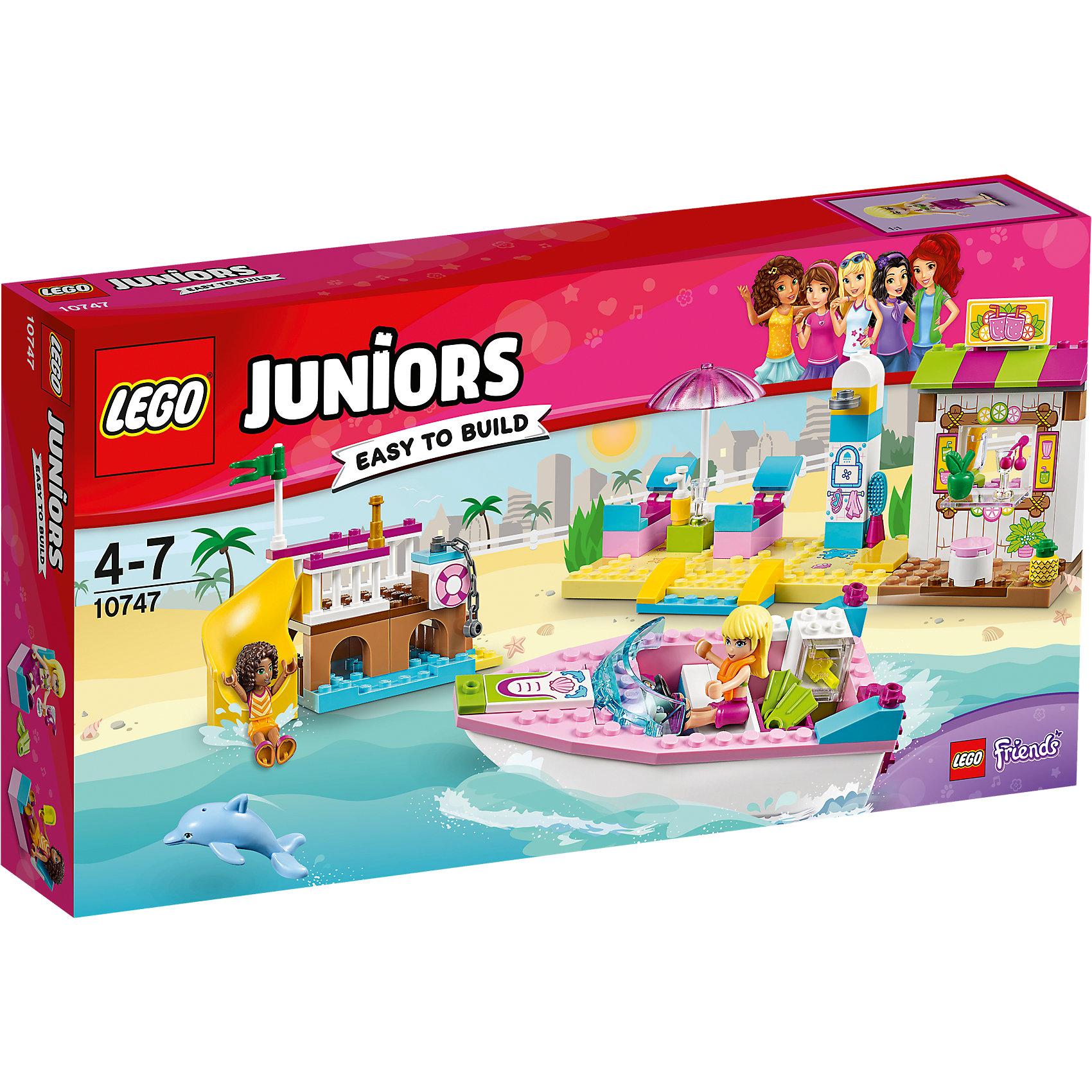 LEGO Juniors 10747: День на пляже с Андреа и СтефаниПластмассовые конструкторы<br>LEGO Juniors 10747: День на пляже с Андреа и Стефани<br><br>Характеристики:<br><br>- в набор входит: детали катера, порта, магазинчиков, 2 фигурки девочек, аксессуары, красочная инструкция<br>- состав: пластик<br>- количество деталей: 143 <br>- размер упаковки: 35 * 7 * 19 см.<br>- размер катера: 13 * 4 * 6 см.<br>- размер порта: 12 * 6 * 9 см.<br>- размер магазинчиков: 19 * 6 * 9 см.<br>- для детей в возрасте: от 4 до 7 лет<br>- Страна производитель: Дания/Китай/Чехия<br><br>Легендарный конструктор LEGO (ЛЕГО) представляет серию «Juniors» (Джуниорс) для новичков в строительстве из конструктора ЛЕГО. Набор День на пляже с Андреа и Стефани в себя все необходимое для игры в поход на пляж. Две куколки Андреа и Стефани представлены в пляжных нарядах, они взяли с собой лосьон для загара, немного денег, любимые ласты для плавания и оправились на пляж. На берегу их ждут удобные шезлонги под зонтиком, летний душ и кафе с напитками. Неподалеку расположен порт с винтовой горкой для прыжков в воду. У пирса пришвартован красивый розовый катер с жилетами безопасности на борту. В своем путешествии на катере девочки встретили настоящего дельфина и подружились с ним! Завтра они вернутся на пляж чтобы поиграть с новым другом снова. Играя с конструктором ребенок развивает моторику рук, воображение и логическое мышление. Придумывайте новые игры с набором LEGO «Juniors»!<br><br>Конструктор LEGO Juniors 10747: День на пляже с Андреа и Стефани можно купить в нашем интернет-магазине.<br><br>Ширина мм: 359<br>Глубина мм: 190<br>Высота мм: 63<br>Вес г: 424<br>Возраст от месяцев: 48<br>Возраст до месяцев: 84<br>Пол: Женский<br>Возраст: Детский<br>SKU: 5002521