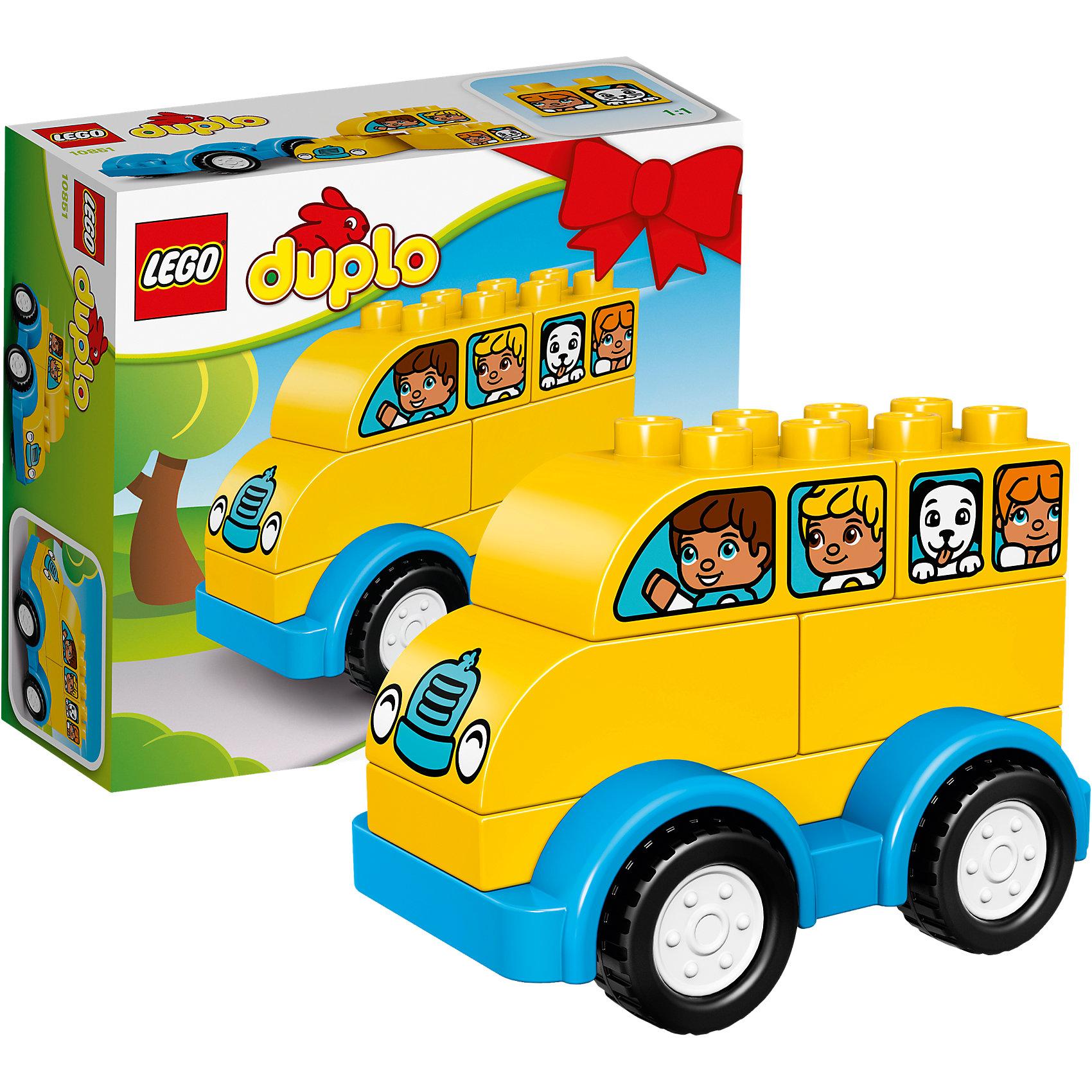 LEGO DUPLO 10851: Мой первый автобусПластмассовые конструкторы<br>LEGO DUPLO 10851: Мой первый автобус<br><br>Характеристики:<br><br>- в набор входит: детали автобуса, инструкция<br>- состав: пластик<br>- количество деталей: 6<br>- размер коробки: 15 * 1,5 * 6 см.<br>- для детей в возрасте: от 1,5 до 3 лет<br>- Страна производитель: Дания/Китай/Чехия/<br><br>Легендарный конструктор LEGO (ЛЕГО) представляет серию «DUPLO» (Д?пло) для самых маленьких. Крупные детали безопасны для малышей, а интересная тематика, возможность фантазировать, собирать из конструктора свои фигуры и играть в него приведут кроху в восторг! Этот небольшой набор сразу и игрушка и конструктор. Яркие и отлично детализированные детали выполнены из очень качественного пластика. Ребенок сможет собирать их них желтый автобус с детишками и котенком и щенком. Также можно построить из него машинку. Автобус на колесиках двигается, не имеет заводного механизма. Детали набора подходят ко всем другим наборам серии DUPLO. Играя с этим конструктором ребенок сможет развить внимание, память, моторику ручек, а также творческие способности. <br><br>Конструктор LEGO DUPLO 10851: Мой первый автобус можно купить в нашем интернет-магазине.<br><br>Ширина мм: 160<br>Глубина мм: 139<br>Высота мм: 63<br>Вес г: 126<br>Возраст от месяцев: 12<br>Возраст до месяцев: 36<br>Пол: Унисекс<br>Возраст: Детский<br>SKU: 5002525