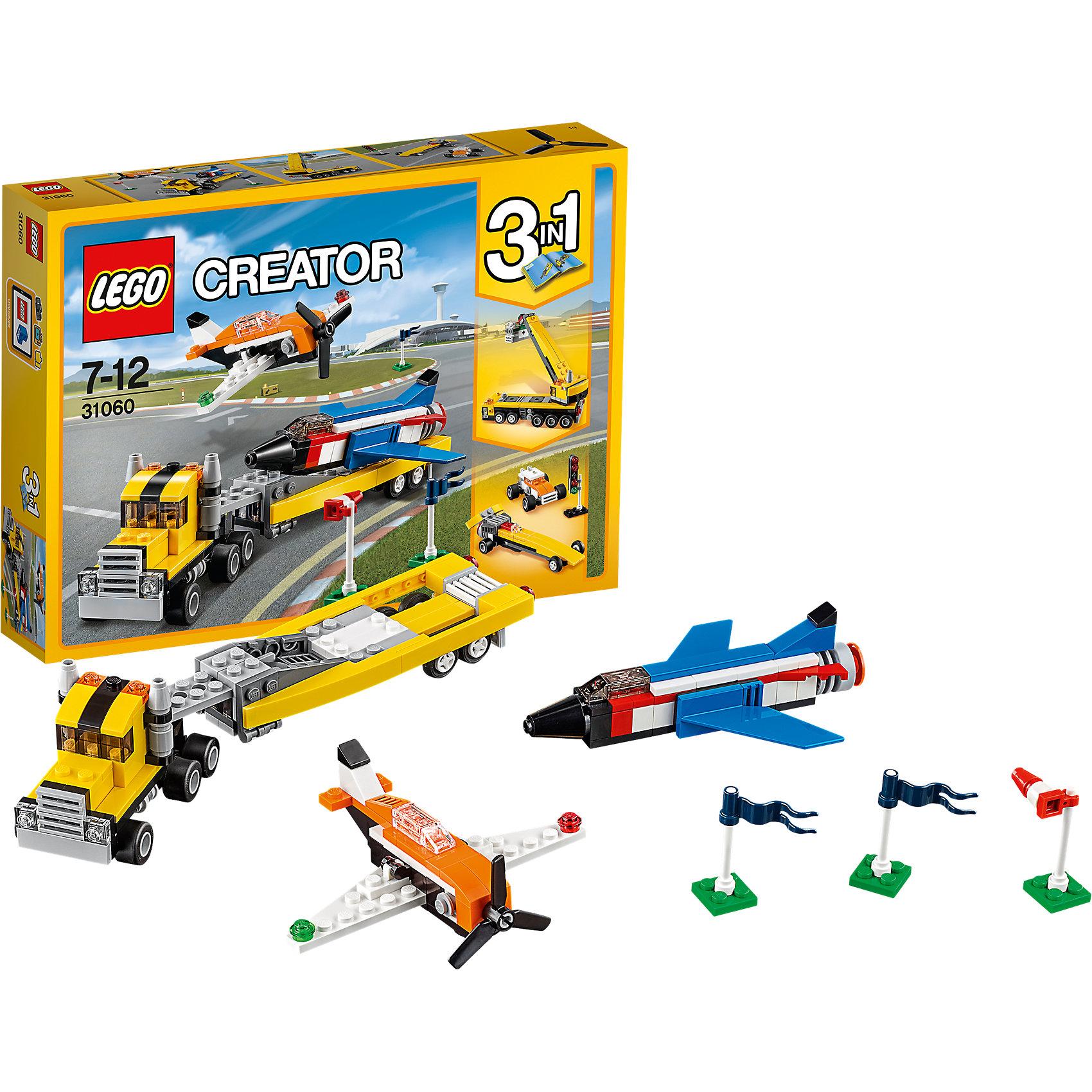 LEGO Creator 31060: Пилотажная группаПластмассовые конструкторы<br>LEGO Creator 31060: Пилотажная группа<br><br>Характеристики:<br><br>- в набор входит: детали для двух самолетов и грузовика, аксессуары, красочная инструкция<br>- состав: пластик<br>- количество деталей: 246<br>- размер сверхзвукового самолета: 12 * 3 * 9 см.<br>- размер самолета с пропеллером: 11 * 4 * 8 см.<br>- размер грузовика с прицепом: 25 * 4 * 5 см.<br>- для детей в возрасте: от 7 до 12 лет<br>- Страна производитель: Дания/Китай/Чехия<br><br>Легендарный конструктор LEGO (ЛЕГО) представляет серию «Creator» (Криэйтор), которая позволяет детям экспериментировать с домами, машинами, самолетами и существами. Каждый набор этой серии подразумевает перестройку тремя разными способами убирая ограничения веселья! Набор Пилотажная группа понравится юным любителям авиации, ведь с ним вы можете устроить свое уникальное авиа шоу. В набор входит сверхзвуковой самолет, самолет с пропеллером и большой грузовик с отсоединяемым прицепом для погрузки в него самолета. Крылья самолета с пропеллером двигаются, а грузовик с прицепом можно перестроить в две гоночные машины. В аксессуары входят два разборных флажка, светофор и флюгер для проверки силы и направления ветра до проведения полетов. Играя с конструктором ребенок развивает моторику рук, воображение и логическое мышление, научится собирать по инструкции и создавать свои модели. Придумывайте новые игры с набором LEGO «Creator»!<br><br>Конструктор LEGO Creator 31060: Пилотажная группа можно купить в нашем интернет-магазине.<br><br>Ширина мм: 265<br>Глубина мм: 190<br>Высота мм: 50<br>Вес г: 339<br>Возраст от месяцев: 84<br>Возраст до месяцев: 144<br>Пол: Мужской<br>Возраст: Детский<br>SKU: 5002530
