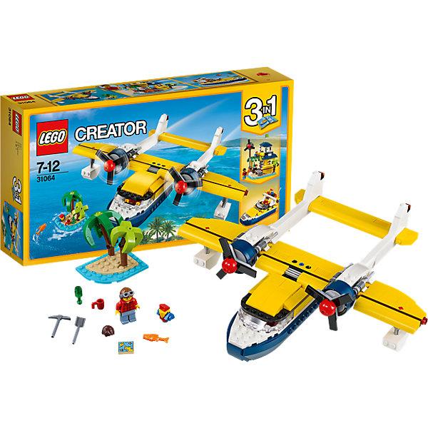 LEGO Creator 31064: Приключения на островахПластмассовые конструкторы<br>LEGO Creator 31064: Приключения на островах<br><br>Характеристики:<br><br>- в набор входит: детали для самолета, 1 минифигурка, аксессуары, красочная инструкция<br>- состав: пластик<br>- количество деталей: 359<br>- размер самолета: 29 * 8 * 24 см.<br>- размер хижины: 13 * 16 * 17 см.<br>- размер скоростной лодки: 8 * 17 * 9 см.<br>- для детей в возрасте: от 7 до 12 лет<br>- Страна производитель: Дания/Китай/Чехия<br><br>Легендарный конструктор LEGO (ЛЕГО) представляет серию «Creator» (Криэйтор), которая позволяет детям экспериментировать с домами, машинами, самолетами и существами. Каждый набор этой серии подразумевает перестройку тремя разными способами убирая ограничения веселья! Набор Приключения на островах придет по вкусу каждому поклоннику путешествий. Большой самолет с двумя мощными двигателями с крутящимися пропеллерами, регулируемыми подъемами, открывающимся грузового отсека и детализированной кабиной капитана увезет вас на поиски небольшого острова (6 * 7 * 6 см.) по карте сокровищ. Самолет можно перестроить в скоростную лодку со всем необходимым оборудованием для управления и грузовым отсеком. А можно приплыть на остров и построить из деталей лодки свою собственную хижину с современной рацией и приборами для коммуникаций. Минифигурка набора отлично проработана и оснащена шлемом для полетом и обычной прической на смену. Фигурка имеет два выражения лица одно с маленькими усами, а другое с бородой и усами. Играя с конструктором ребенок развивает моторику рук, воображение и логическое мышление, научится собирать по инструкции и создавать свои модели. Придумывайте новые игры с набором LEGO «Creator»!<br><br>Конструктор LEGO Creator 31064: Приключения на островах можно купить в нашем интернет-магазине.<br>Ширина мм: 356; Глубина мм: 190; Высота мм: 73; Вес г: 620; Возраст от месяцев: 84; Возраст до месяцев: 144; Пол: Мужской; Возраст: Детский; SKU: 5002531;