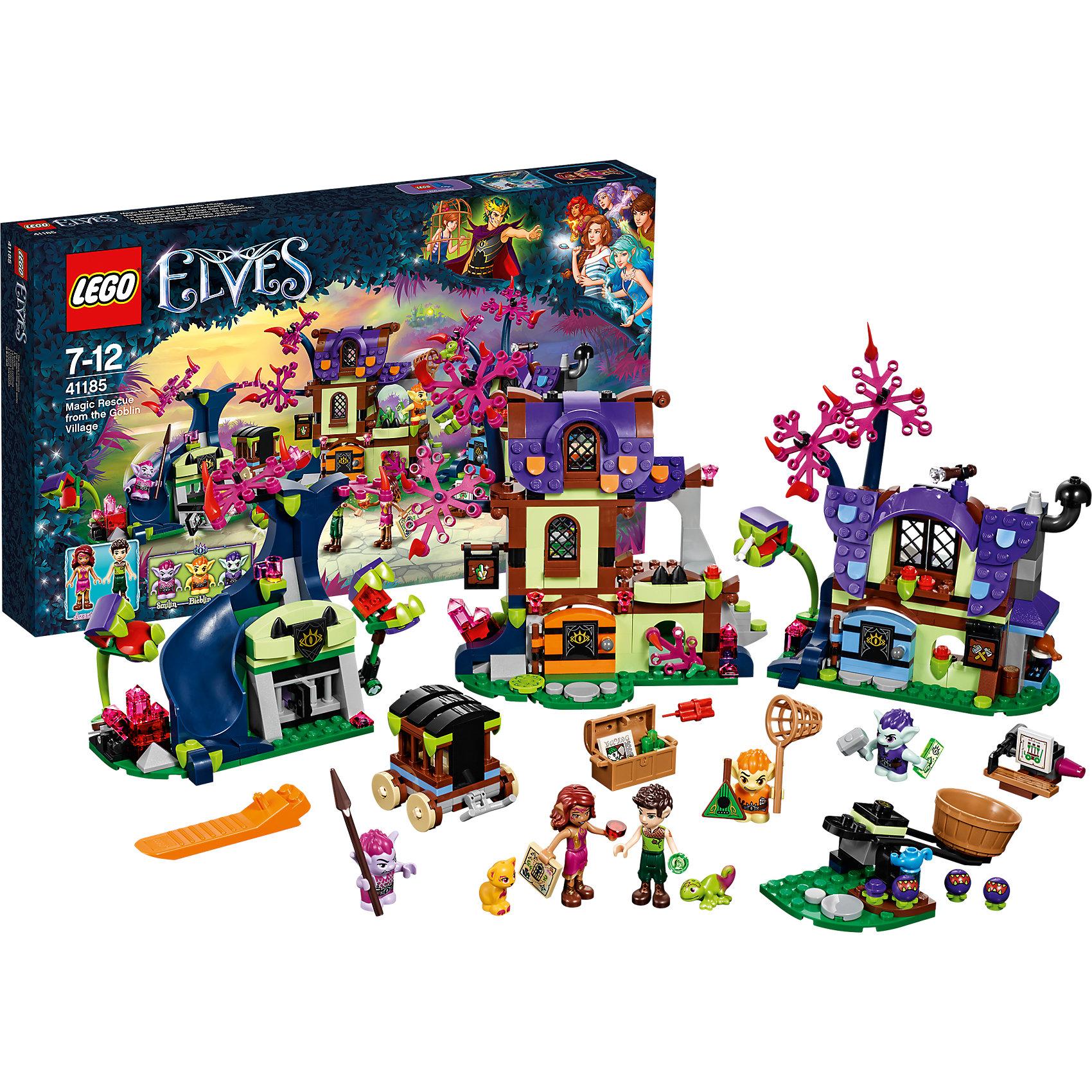 LEGO Elves 41185: Побег из деревни гоблиновПластмассовые конструкторы<br>LEGO Elves 41185: Побег из деревни гоблинов<br><br>Характеристики:<br><br>- в набор входит: детали трех домов, повозки, катапульты, 5 фигурок героев, фигурки животных, аксессуары, инструкция по сборке<br>- фигурки набора: эльфы Фарран и Азари, гоблины Фибблин, Байблин и Смайлин<br>- состав: пластик<br>- количество деталей: 343<br>- для детей в возрасте: от 8 до 12 лет<br>- Страна производитель: Дания/Китай/Чехия<br><br>Легендарный конструктор LEGO (ЛЕГО) представляет серию «Elves» (Эльфы) – магическую вселенную, наполненную приключениями!<br><br>Дети должны помочь эльфам найти четыре волшебных ключа, чтобы вернуть Эмили Джонс домой. Два отважных эльфа прокрались в деревню гоблинов чтобы найти Эмили, спасти животных и вернуть украденные драгоценные камни. Большая деревня состоит из разных домов, некоторые оснащены опасными плотоядными растениями, подзорными трубами для слежения, горкой для быстрого спуска, а также передвижной катапультой. Опасные гоблины помещают животных в клетки, а из растений готовят ядовитые шипы. <br><br>Фигурки эльфов качественно прорисованы, могут поворачивать головой, руками, торсом и принимать сидячее положение. Красивые рельефные волосы распущены, детали одежды оснащены выступающими складками по краям ткани и добавляют фигуркам реалистичности. Фигурки гоблинов могут двигать руками, поворачивать головой, держать предметы в руках, их причёски тоже детализированы. Огромное количество аксессуаров сделают игру с набором еще более увлекательной! Детали набора отлично сочетаются в другими наборами серии LEGO Elves. <br><br>Играя с конструктором ребенок развивает моторику рук, воображение и логическое мышление, научится собирать по инструкции и создавать свои модели. Придумывайте новые истории любимых героев с набором LEGO «Elves»!<br><br>Конструктор LEGO Elves 41185: Побег из деревни гоблинов можно купить в нашем интернет-магазине.<br><br>Ширина мм: 478<br>Глубина мм: 281<br>