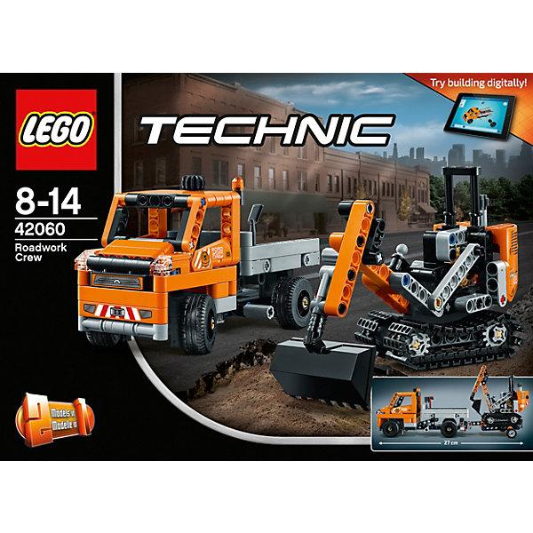LEGO Technic 42060: Дорожная техникаПластмассовые конструкторы<br>LEGO Technic 42060: Дорожная техника<br><br>Характеристики:<br><br>- в набор входит: детали самосвала с прицепом и экскаватора, наклейки, инструкция по сборке<br>- состав: пластик<br>- количество деталей: 365<br>- приблизительное время сборки: 45 мин.<br>- размер самосвала с прицепом: 27 * 7 * 9 см.<br>- размер экскаватора: 10 * 5 * 9 см.<br>- размер снегоуборочной машины: 24 * 13 * 11 см.<br>- для детей в возрасте: от 7 до 14 лет<br>- Страна производитель: Дания/Китай/Чехия<br><br>Легендарный конструктор LEGO (ЛЕГО) представляет серию «Technic», которая бросает вызов уже опытным строителям ЛЕГО. Ваш ребенок может строить продвинутые модели с реальными функциями, такими как коробки передач и системы рулевого управления. В набор включена уникальная деталь, посвященная сорокалетию серии. Наслаждайтесь строительством сразу трех видов техники, ведь самосвал с прицепом перестраивается в снегоуборочную машину. <br><br>Колеса самосвала поворачиваются в стороны с помощью рычага, а второй рычаг откидывает кузов для сброса груза. Прицеп оснащен подвижным креплением и отлично следует за самосвалом при поворотах. Кабина гусеничного экскаватора вращается на все 360 градусов, а благодаря двум другим рычагам ковш двигается и может копать, уровень наклона ковша так же регулируется. Подразумевается, что экскаватор перемещается на место стройки в прицепе самосвала. В набор входят строительные аксессуары в виде лопаты и щетки. <br><br>Играя с конструктором ребенок развивает моторику рук, воображение и логическое мышление, научится собирать по инструкции и создавать свои модели. Принимайте новые вызовы по сборке моделей и придумывайте новые истории с набором LEGO «Technic»!<br><br>Конструктор LEGO Technic 42060: Дорожная техника можно купить в нашем интернет-магазине.<br><br>Ширина мм: 264<br>Глубина мм: 190<br>Высота мм: 73<br>Вес г: 482<br>Возраст от месяцев: 96<br>Возраст до месяцев: 168<br>Пол: Мужской<br>Возраст: Де