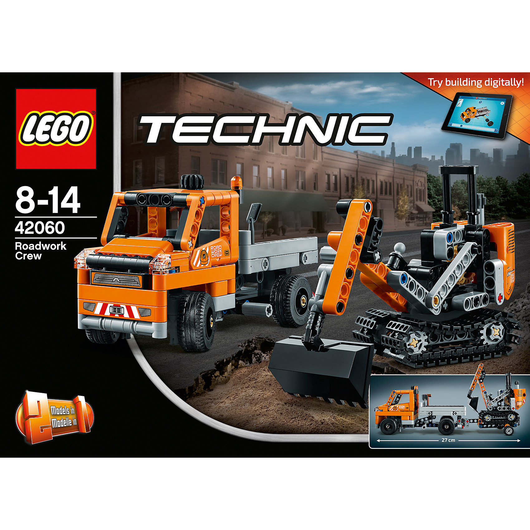 LEGO Technic 42060: Дорожная техникаLEGO Technic 42060: Дорожная техника<br><br>Характеристики:<br><br>- в набор входит: детали самосвала с прицепом и экскаватора, наклейки, инструкция по сборке<br>- состав: пластик<br>- количество деталей: 365<br>- приблизительное время сборки: 45 мин.<br>- размер самосвала с прицепом: 27 * 7 * 9 см.<br>- размер экскаватора: 10 * 5 * 9 см.<br>- размер снегоуборочной машины: 24 * 13 * 11 см.<br>- для детей в возрасте: от 7 до 14 лет<br>- Страна производитель: Дания/Китай/Чехия<br><br>Легендарный конструктор LEGO (ЛЕГО) представляет серию «Technic», которая бросает вызов уже опытным строителям ЛЕГО. Ваш ребенок может строить продвинутые модели с реальными функциями, такими как коробки передач и системы рулевого управления. В набор включена уникальная деталь, посвященная сорокалетию серии. Наслаждайтесь строительством сразу трех видов техники, ведь самосвал с прицепом перестраивается в снегоуборочную машину. <br><br>Колеса самосвала поворачиваются в стороны с помощью рычага, а второй рычаг откидывает кузов для сброса груза. Прицеп оснащен подвижным креплением и отлично следует за самосвалом при поворотах. Кабина гусеничного экскаватора вращается на все 360 градусов, а благодаря двум другим рычагам ковш двигается и может копать, уровень наклона ковша так же регулируется. Подразумевается, что экскаватор перемещается на место стройки в прицепе самосвала. В набор входят строительные аксессуары в виде лопаты и щетки. <br><br>Играя с конструктором ребенок развивает моторику рук, воображение и логическое мышление, научится собирать по инструкции и создавать свои модели. Принимайте новые вызовы по сборке моделей и придумывайте новые истории с набором LEGO «Technic»!<br><br>Конструктор LEGO Technic 42060: Дорожная техника можно купить в нашем интернет-магазине.<br><br>Ширина мм: 265<br>Глубина мм: 192<br>Высота мм: 76<br>Вес г: 486<br>Возраст от месяцев: 96<br>Возраст до месяцев: 168<br>Пол: Мужской<br>Возраст: Детский<br>SKU: 5002536