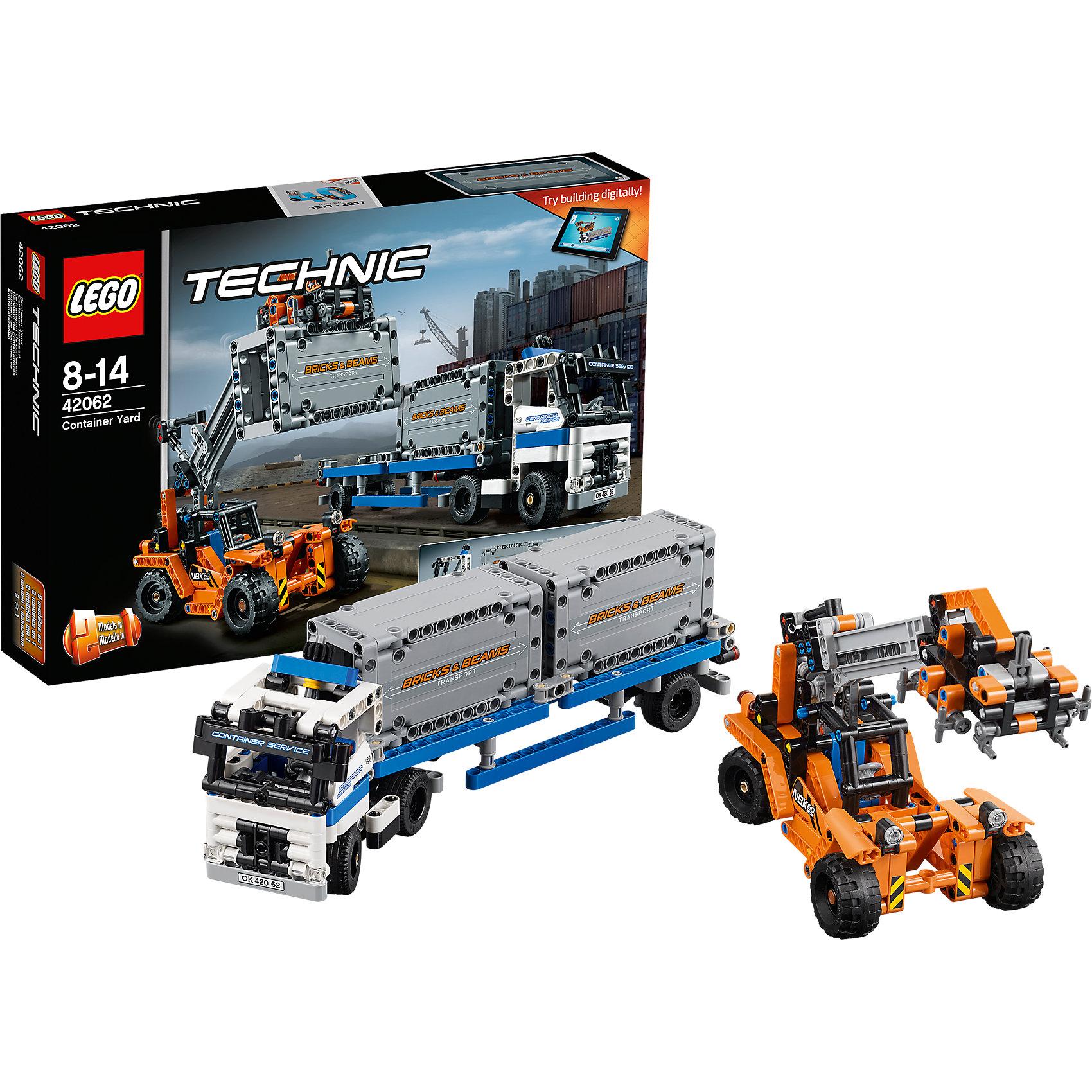 LEGO Technic 42062: Контейнерный терминалLEGO Technic 42062: Контейнерный терминал<br><br>Характеристики:<br><br>- в набор входит: детали большегрузного автомобиля, контейнеров и погрузчика, наклейки, инструкция по сборке<br>- состав: пластик<br>- количество деталей: 260<br>- приблизительное время сборки: 75 мин.<br>- размер упаковки: 38 * 7 * 29 см.<br>- размер автомобиля с контейнерами: 30,5 * 7 * 11 см.<br>- размер погрузчика: 23 * 9 * 10,5 см.<br>- для детей в возрасте: от 8 до 14 лет<br>- Страна производитель: Дания/Китай/Чехия<br><br>Легендарный конструктор LEGO (ЛЕГО) представляет серию «Technic», которая бросает вызов уже опытным строителям ЛЕГО. Ваш ребенок может строить продвинутые модели с реальными функциями, такими как коробки передач и системы рулевого управления. В набор включена уникальная деталь, посвященная сорокалетию серии. Наслаждайтесь строительством реалистичного большегрузного автомобиля и погрузчика! <br><br>Благодаря специальному механизму колеса автомобиля двигаются в разные стороны, помогая ему разворачиваться вместе с прицепом и грузом, прицеп можно отсоединить, двери кабины открываются, а сиденья складываются. Ведущие колеса погрузчика так же двигаются с помощью механизма, грузозахватное устройство поднимается, двигается вперед и надежно захватывает контейнеры. Открытая кабина погрузчика открывается, водитель защищен надежной и прочной конструкцией. Большегрузный автомобиль перестраивается в грузовик, а погрузчик в стационарный портальный для нового вида перевозок, обе модели имеют дополнительные объемные интерактивные инструкции на вебсайте ЛЕГО. <br><br>Играя с конструктором ребенок развивает моторику рук, воображение и логическое мышление, научится собирать по инструкции и создавать свои модели. Принимайте новые вызовы по сборке моделей и придумывайте новые истории с набором LEGO «Technic»!<br><br>Конструктор LEGO Technic 42062: Контейнерный терминал можно купить в нашем интернет-магазине.<br><br>Ширина мм: 385<br>Глубина мм: 263<br>