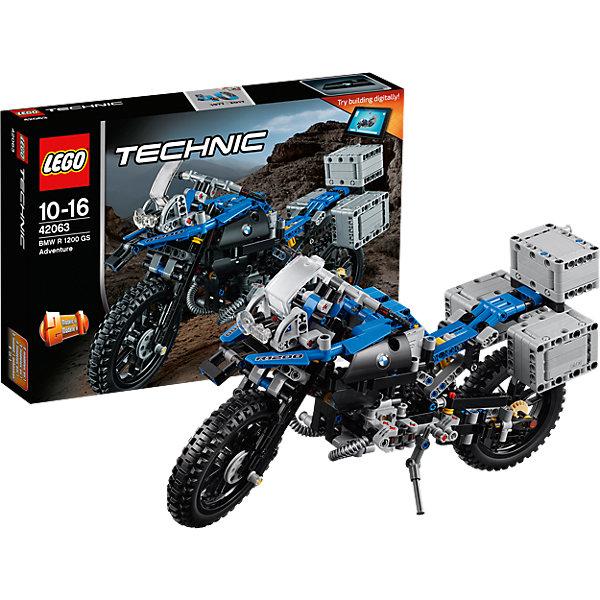 LEGO Technic 42063: Приключения на BMW R 1200 GSКонструкторы Лего<br>LEGO Technic 42063: Приключения на BMW R 1200 GS<br><br>Характеристики:<br><br>- в набор входит: детали мотоцикла, наклейки, инструкция по сборке<br>- состав: пластик<br>- количество деталей: 603<br>- приблизительное время сборки: 75 мин.<br>- размер упаковки: 36 * 7 * 26 см.<br>- размер мотоцикла: 33 * 10,5 * 18 см.<br>- для детей в возрасте: от 10 до 16 лет<br>- Страна производитель: Дания/Китай/Чехия<br>Легендарный конструктор LEGO (ЛЕГО) представляет серию «Technic», которая бросает вызов уже опытным строителям ЛЕГО. <br><br>Ваш ребенок может строить продвинутые модели с реальными функциями, такими как коробки передач и системы рулевого управления. В набор включена уникальная деталь, посвященная сорокалетию серии. Наслаждайтесь строительством нового реалистичного мотоцикла BMW R 1200 GS с полной амортизацией колес, поворачивающимся передним колесом и надежной подножкой. Три грузовых отделения открываются и могут быть сняты. При движении механизм имитирует работу двигателя мотоцикла и можно увидеть работу поршней. Мотоцикл перестраивается в новую скоростную модель, разработанную компанией BMW, обе модели имеют дополнительные объемные интерактивные инструкции на вебсайте ЛЕГО.<br><br>Играя с конструктором ребенок развивает моторику рук, воображение и логическое мышление, научится собирать по инструкции и создавать свои модели. Принимайте новые вызовы по сборке моделей и придумывайте новые истории с набором LEGO «Technic»!<br><br>Конструктор LEGO Technic 42063: Приключения на BMW R 1200 GS можно купить в нашем интернет-магазине.<br>Ширина мм: 383; Глубина мм: 261; Высота мм: 76; Вес г: 938; Возраст от месяцев: 120; Возраст до месяцев: 192; Пол: Мужской; Возраст: Детский; SKU: 5002538;