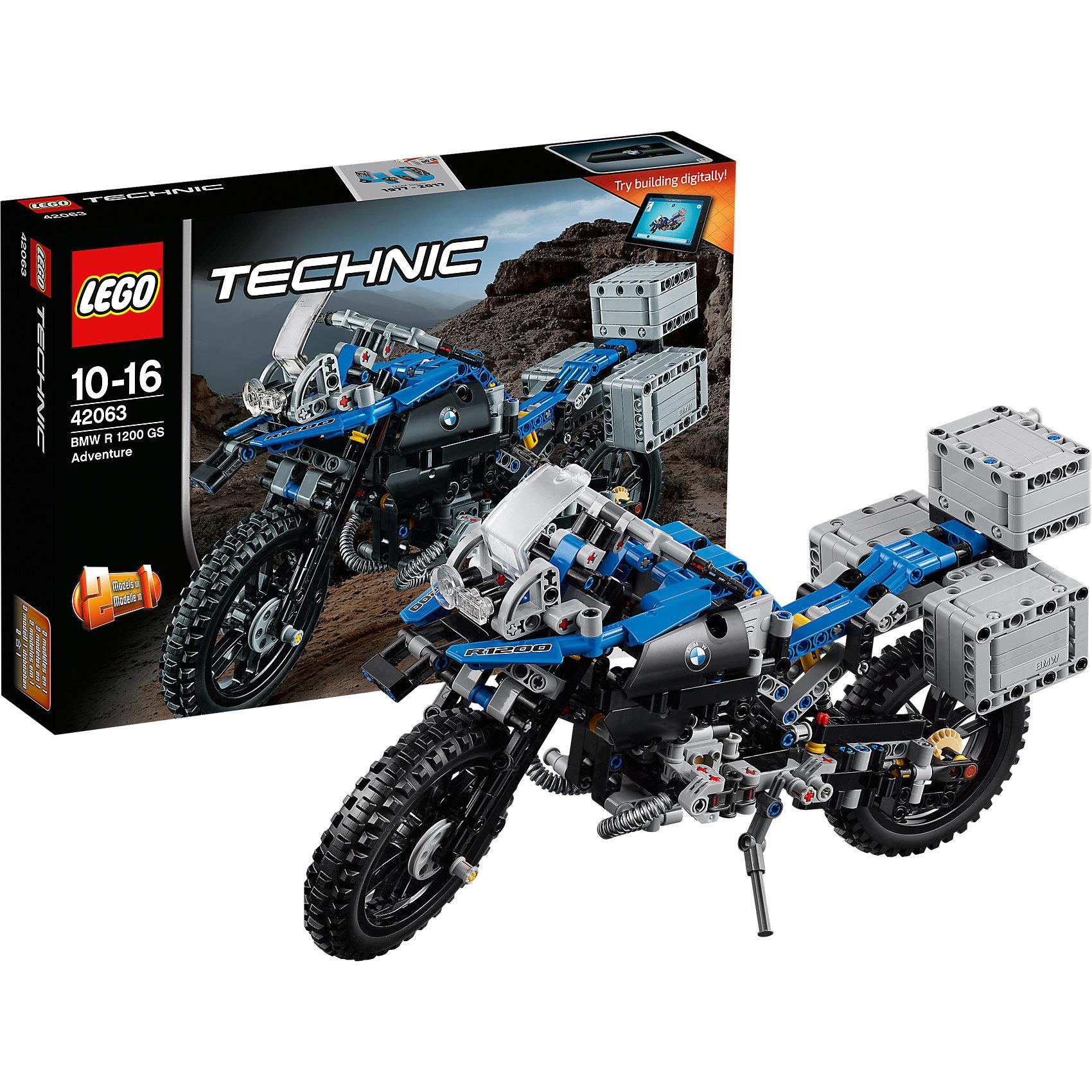 LEGO Technic 42063: Приключения на BMW R 1200 GSПластмассовые конструкторы<br>LEGO Technic 42063: Приключения на BMW R 1200 GS<br><br>Характеристики:<br><br>- в набор входит: детали мотоцикла, наклейки, инструкция по сборке<br>- состав: пластик<br>- количество деталей: 603<br>- приблизительное время сборки: 75 мин.<br>- размер упаковки: 36 * 7 * 26 см.<br>- размер мотоцикла: 33 * 10,5 * 18 см.<br>- для детей в возрасте: от 10 до 16 лет<br>- Страна производитель: Дания/Китай/Чехия<br>Легендарный конструктор LEGO (ЛЕГО) представляет серию «Technic», которая бросает вызов уже опытным строителям ЛЕГО. <br><br>Ваш ребенок может строить продвинутые модели с реальными функциями, такими как коробки передач и системы рулевого управления. В набор включена уникальная деталь, посвященная сорокалетию серии. Наслаждайтесь строительством нового реалистичного мотоцикла BMW R 1200 GS с полной амортизацией колес, поворачивающимся передним колесом и надежной подножкой. Три грузовых отделения открываются и могут быть сняты. При движении механизм имитирует работу двигателя мотоцикла и можно увидеть работу поршней. Мотоцикл перестраивается в новую скоростную модель, разработанную компанией BMW, обе модели имеют дополнительные объемные интерактивные инструкции на вебсайте ЛЕГО.<br><br>Играя с конструктором ребенок развивает моторику рук, воображение и логическое мышление, научится собирать по инструкции и создавать свои модели. Принимайте новые вызовы по сборке моделей и придумывайте новые истории с набором LEGO «Technic»!<br><br>Конструктор LEGO Technic 42063: Приключения на BMW R 1200 GS можно купить в нашем интернет-магазине.<br><br>Ширина мм: 385<br>Глубина мм: 263<br>Высота мм: 76<br>Вес г: 940<br>Возраст от месяцев: 120<br>Возраст до месяцев: 192<br>Пол: Мужской<br>Возраст: Детский<br>SKU: 5002538