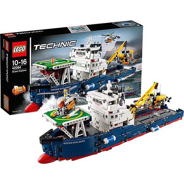 LEGO Technic 42064: Исследователь океанаПластмассовые конструкторы<br>LEGO Technic 42064: Скоростной вездеход с ДУ<br><br>Характеристики:<br><br>- в набор входит: детали корабля, наклейки, инструкция по сборке<br>- состав: пластик<br>- количество деталей: 370<br>- приблизительное время сборки: 40 мин.<br>- размер упаковки: 53,5 * 9 * 28 см.<br>- размер судна: 33 * 10,5 * 18 см.<br>- для детей в возрасте: от 10 до 16 лет<br>- Страна производитель: Дания/Китай/Чехия<br><br>Легендарный конструктор LEGO (ЛЕГО) представляет серию «Technic», которая бросает вызов уже опытным строителям ЛЕГО. Ваш ребенок может строить продвинутые модели с реальными функциями, такими как коробки передач и системы рулевого управления. <br><br>В набор включена уникальная деталь, посвященная сорокалетию серии. Наслаждайтесь строительством нового реалистичного исследовательского судна. Все функции корабля управляются вручную, он не предназначен для реального плавания на воде и оснащен маленькими колесиками на дне для удобства игры и более мягкого движения игрушки, колеса поворачиваются с помощью рычага. Кран, расположенный в задней части корабля вращается на 360 градусов и может подниматься и опускаться. Небольшой вертолет из набора снабжен механизмом, двигающим его верхние и боковые лопасти, его кабина открывается. <br><br>В набор входит и батискаф с открывающейся кабиной и движущимися захватывающими деталями и механизмом для движения пропеллерами. Судно оснащено посадочной площадкой для вертолета, а с помощью крана можно спускать батискаф в воду. Многочисленные детали добавляют реалистичности модели, ее можно перестроить в буксир и баржу, обе модели имеют объемные интерактивные инструкции на вебсайте ЛЕГО. <br><br>Играя с конструктором ребенок развивает моторику рук, воображение и логическое мышление, научится собирать по инструкции и создавать свои модели. Принимайте новые вызовы по сборке моделей и придумывайте новые истории с набором LEGO «Technic»!<br><br>Конструктор LEGO Technic 42064: С