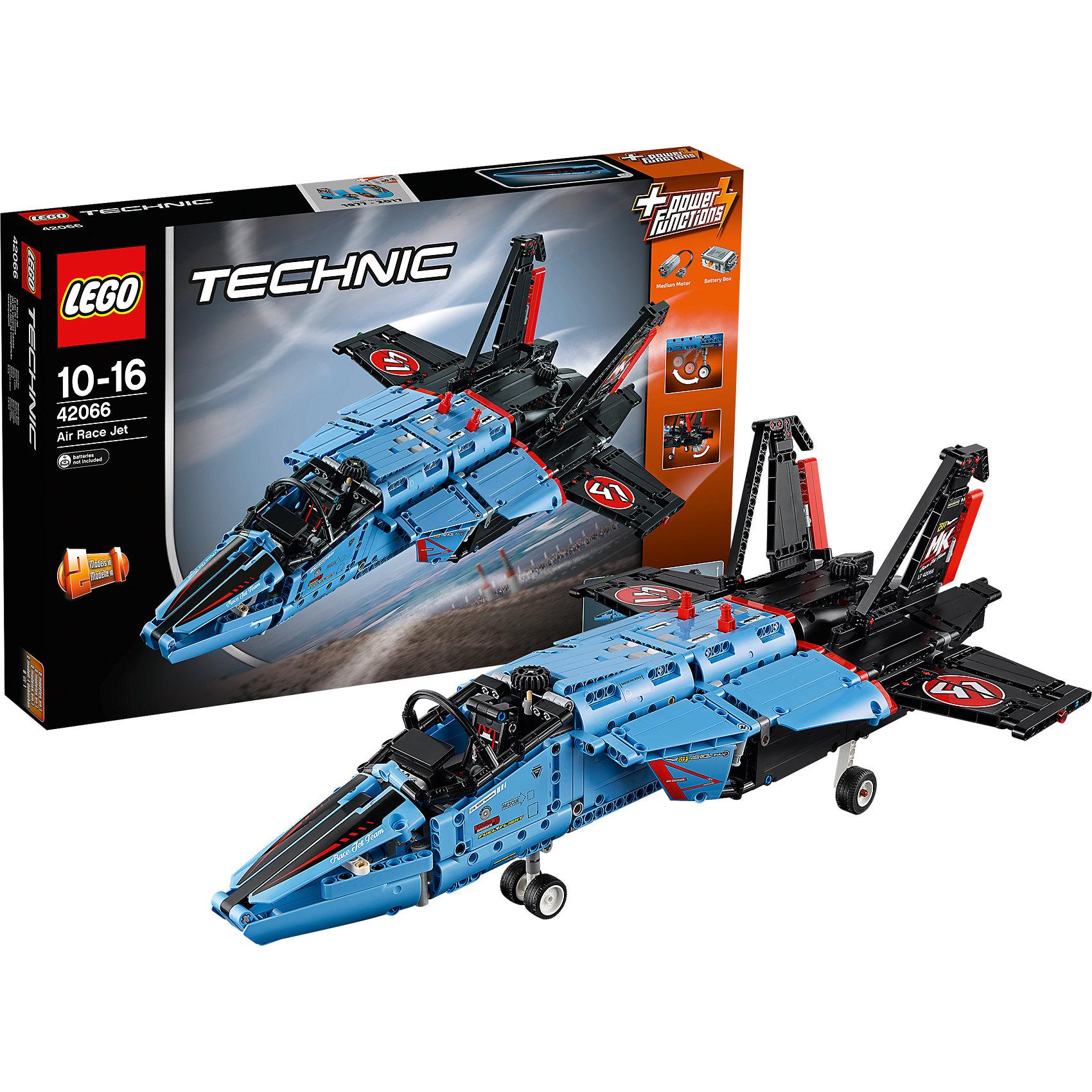 LEGO Technic 42066: Сверхзвуковой истребительПластмассовые конструкторы<br>LEGO Technic 42066: Сверхзвуковой истребитель<br><br>Характеристики:<br><br>- в набор входит: детали истребителя, наклейки, инструкция по сборке<br>- состав: пластик<br>- количество деталей: 1151<br>- приблизительное время сборки: 2 часа 45 мин.<br>- размер упаковки: 58 * 8,5 * 37 см.<br>- размер истребителя: 58 * 23 * 36 см.<br>- для детей в возрасте: от 10 до 16 лет<br>- Страна производитель: Дания/Китай/Чехия<br><br>Легендарный конструктор LEGO (ЛЕГО) представляет серию «Technic», которая бросает вызов уже опытным строителям ЛЕГО. Ваш ребенок может строить продвинутые модели с реальными функциями, такими как коробки передач и системы рулевого управления. <br><br>В набор включена уникальная деталь, посвященная сорокалетию серии. Наслаждайтесь строительством нового реалистичного истребителя черно-синего цвета. Многофункциональный истребитель оснащен двумя автоматическими функциями. Специальный переключатель с помощью моторчика перестраивает истребитель в режим полета и складывает его части обратно. Вторая автоматическая функция плавно выдвигает шасси и убирает их при полете. С помощью ручного механизма переднее колесо самолета двигается, задавая направление истребителя, кабина пилота открывается, так же с помощью механизма двигаются закрылки, задающие направление в ходе полёта. Большая модель истребителя с необычными цветами, небольшим количеством наклеек, сложной схемой для постройки и двумя моторчиками может также быть перестроена в частный реактивный самолёт, обе модели имеют объемные интерактивные инструкции на вебсайте ЛЕГО. <br><br>Играя с конструктором ребенок развивает моторику рук, воображение и логическое мышление, научится собирать по инструкции и создавать свои модели. Принимайте новые вызовы по сборке моделей и придумывайте новые истории с набором LEGO «Technic»!<br><br>Конструктор LEGO Technic 42066: Сверхзвуковой истребитель можно купить в нашем интернет-магазине.<br><br>Ширин