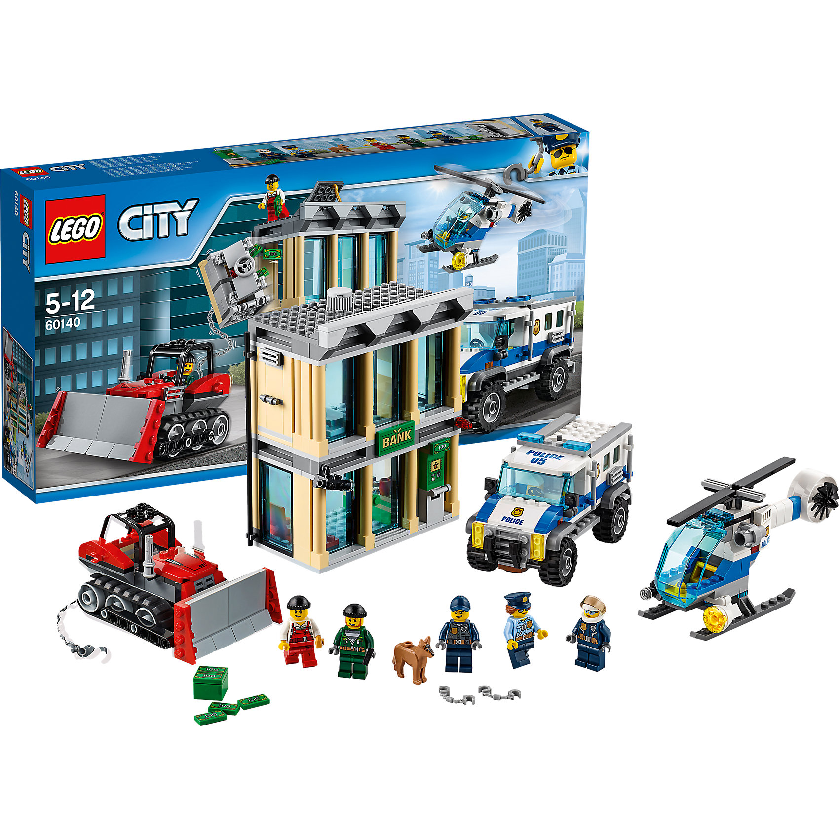 LEGO City 60140: Ограбление на бульдозереПластмассовые конструкторы<br>LEGO City 60140: Ограбление на бульдозере<br><br>Характеристики:<br><br>- в набор входит: банк, полицейский вертолет, полицейская машина, бульдозер, 5 фигурки людей, фигурка собаки, аксессуары, инструкция<br>- состав: пластик<br>- количество деталей: 561<br>- размер коробки: 28 * 7,5 * 54 см.<br>- размер банка: 16 * 6 * 13 см.<br>- вес: 1 100 гр.<br>- для детей в возрасте: от 5 до 12 лет<br>- Страна производитель: Дания/Китай/Чехия<br><br>Легендарный конструктор LEGO (ЛЕГО) представляет серию «City» (Сити) в виде деталей жизни большого города, в котором есть абсолютно все. Серия делает игры еще более настоящими, благодаря отличным аксессуарам. Стражи закона Лего Сити всегда готовы прийти на помощь жителям города. Двухэтажное здание банка со всем необходимым оборудованием, банкоматом и камерой наблюдения передало сигнал об ограблении в полицейский участок. Два грабителя на бульдозере ворвались и похитили деньги из банка. Два патрульных полицейских и собака вооружились наручниками и отправились на вызов. С воздуха патруль прикрывает полицейский вертолет. Все три транспортных средства из этого набора оснащенными движущимися деталями, которые будут отлично смотреться как на моделях их набора, так и на самодельных частях. Этот большой набор отлично подойдет как новичкам Лего, так и преданным фанатам и коллекционерам серии. Предотврати ограбление и помоги полицейским добиться справедливости. Моделируй разные истории и ситуации в Лего Сити!<br><br>Конструктор  LEGO City 60140: Ограбление на бульдозере можно купить в нашем интернет-магазине.<br><br>Ширина мм: 541<br>Глубина мм: 284<br>Высота мм: 86<br>Вес г: 1166<br>Возраст от месяцев: 60<br>Возраст до месяцев: 144<br>Пол: Мужской<br>Возраст: Детский<br>SKU: 5002542