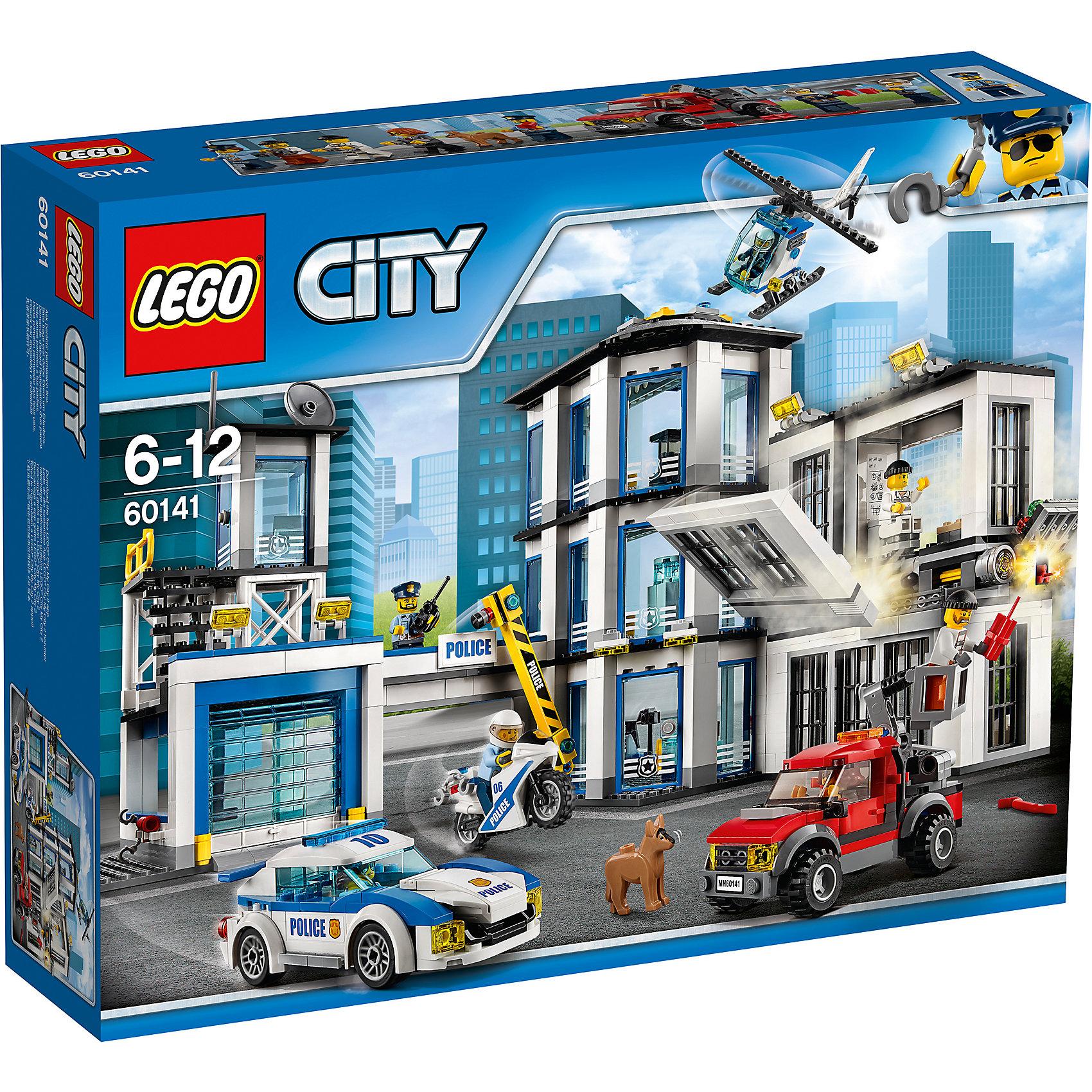 LEGO City 60141: Полицейский участокПластмассовые конструкторы<br>LEGO City 60141: Полицейский участок<br><br>Характеристики:<br><br>- в набор входит: банк, полицейский вертолет, полицейская машина, бульдозер, 5 фигурки людей, фигурка собаки, аксессуары, инструкция<br>- состав: пластик<br>- количество деталей: 894<br>- размер коробки: 48 * 11 * 38 см.<br>- размер полицейского участка: 36 * 24 * 36 см.<br>- вес: 2 200 гр.<br>- для детей в возрасте: от 6 до 12 лет<br>- Страна производитель: Дания/Китай/Чехия<br><br>Легендарный конструктор LEGO (ЛЕГО) представляет серию «City» (Сити) в виде деталей жизни большого города, в котором есть абсолютно все. Серия делает игры еще более настоящими, благодаря отличным аксессуарам. Стражи закона Лего Сити всегда готовы прийти на помощь жителям города. Их новый полицейский участок выполняет все для охраны порядка в городе. Трехэтажный офис со всем необходимым оборудованием справляется с вызовами и расследованием даже самых сложных дел. Специальный отдел К-9 в своих рядах имеет четвероногого офицера с исключительными навыками поиска и захвата преступников. Большая двухэтажная тюрьма обеспечена кроватями и готова принять заключенных. Гараж для полицейской машины и скоростного мотоцикла обеспечивает безопасность полицейского транспорта. Въезд на территорию полицейского участка осуществляется через ворота и шлагбаум. Смотровая площадка обеспечивает контроль въезда и надежность тюремного отсека. Участок оснащен вертолетной площадкой и патрульным вертолетом. Преступления любой категории по плечу этому отделению полиции. В набор входит красный подъемник грабителей, которые хотят проникнуть в тюрьму и организовать побег. Четыре полицейских с разными дизайнами будут охранять Лего Сити, а три опасных преступника бросят вызов стражам порядка. Помоги полицейским добиться справедливости. Моделируй разные истории и ситуации в Лего Сити! Этот большой набор отлично подойдет как новичкам Лего, так и преданным фанатам и коллекционерам серии.<br><br