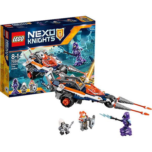 LEGO NEXO KNIGHTS 70348: Турнирная машина ЛансаПластмассовые конструкторы<br>LEGO NEXO KNIGHTS 70348: Турнирная машина Ланса<br><br>Характеристики:<br><br>- в набор входит: машина, 3 фигурки, аксессуары, 8 наклеек, инструкция<br>- состав: пластик<br>- количество деталей: 216<br>- размер коробки: 19 * 6 * 26 см.<br>- для детей в возрасте: от 7 до 14 лет<br>- Страна производитель: Дания/Китай/Чехия<br><br>Легендарный конструктор LEGO (ЛЕГО) представляет серию «NEXO KNIGHTS» (Нэксо Найтс) по сюжету одноименного мультсериала. Серия понравится любителям средневековья благодаря рыцарям, принцессам, монстрам и ужасным злодеям. Турнирная машина на трех колесах обладает отличной маневренностью, двумя передними пиками можно атаковать врагов, при желании одну из пик можно снять и передать рыцарю в качестве оружия, так как оружия у рыцаря в наборе нет. Машина перестраивается в самолет после поворота деталей со стрелочками. В крыльях самолета встроены ракеты, вылетающие за счет пластикового механизма. Нажав на оранжевую кнопку передняя часть отсоединяется и получается мотоцикл, а в самой передней части может остаться Бот Ланс чтобы помогать защищать тыл. В набор входит Нексо Сила – гусиный шаг, если вы играете в игру, то можете ее отсканировать. Фигурка Рогула выглядит впечатляюще, это злодей в капюшоне фиолетового цвета, а в качестве аксессуара имеется посох молний. Два вида глаз фигурки добавляет реалистичности. Отлично детализированный Ланс с прорисованными доспехами и съемным прозрачным оранжевым шлемом готов к битве, фигурка также имеет два выражения лица. Бот ланса появился в белом шлеме и гербом ланса. Этот набор можно комбинировать с боевым костюмом Ланс от LEGO NEXO KNIGHTS. Помогай бороться с монстрами с помощью прогресса и невероятной турнирной машины!<br><br>Конструктор LEGO NEXO KNIGHTS 70348: Турнирная машина Ланса можно купить в нашем интернет-магазине.<br><br>Ширина мм: 263<br>Глубина мм: 192<br>Высота мм: 68<br>Вес г: 335<br>Возраст от месяцев: 84<br>Возраст до 