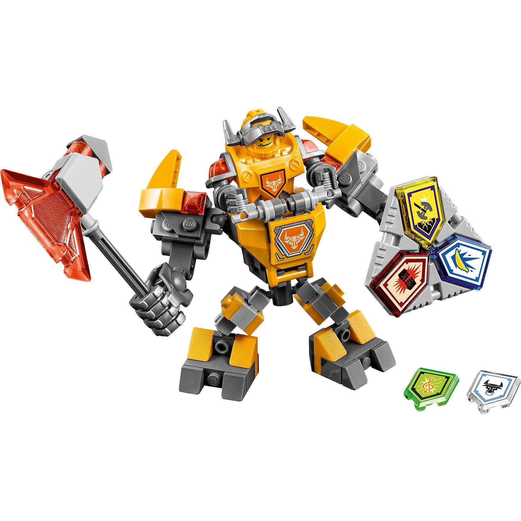 LEGO NEXO KNIGHTS 70365: Боевые доспехи АкселяLEGO NEXO KNIGHTS 70365: Боевые доспехи Акселя<br><br>Характеристики:<br><br>- в набор входит: доспехи, фигурка, 5 защитных сил, красочная инструкция<br>- состав: пластик<br>- количество деталей: 80<br>- размер коробки: 20 * 5,5 * 19 см.<br>- высота доспеха: 9 см.<br>- для детей в возрасте: от 7 до 14 лет<br>- Страна производитель: Дания/Китай/Чехия<br><br>Легендарный конструктор LEGO (ЛЕГО) представляет серию «NEXO KNIGHTS» (Нэксо Найтс) по сюжету одноименного мультсериала. Серия понравится любителям средневековья благодаря рыцарям, принцессам, монстрам и ужасным злодеям. Рыцарь Аксель получает свои новые боевые доспехи. Прекрасное сочетание темно-серого, желтого и оранжевого цветов отлично ему подходят. Доспех на шарнирах и позволяет рыцарю свободно двигать руками и ногами в плечах, локтях, коленях, бедрах и торсе. Прочный щит содержит сразу три силы, а надежный и яркий топор станет отличным помощников в битве. Изображенный на груди герб Акселя является особенностью доспеха. Фигурка Акселя входит в комплект, отлично детализирована и имеет два выражения лица. Съемный шлем выглядит очень правдоподобно, забрало поднимается и опускается. К доспеху можно будет прикрепить дополнительные детали от LEGO NEXO KNIGHTS, которые выйдут во втором полугодии 2017 года. Помогай рыцарям бороться с каменными монстрами с помощью прогресса и невероятной Нексо силы!<br><br>Конструктор LEGO NEXO KNIGHTS 70365: Боевые доспехи Акселя можно купить в нашем интернет-магазине.<br><br>Ширина мм: 207<br>Глубина мм: 185<br>Высота мм: 50<br>Вес г: 133<br>Возраст от месяцев: 84<br>Возраст до месяцев: 168<br>Пол: Мужской<br>Возраст: Детский<br>SKU: 5002547