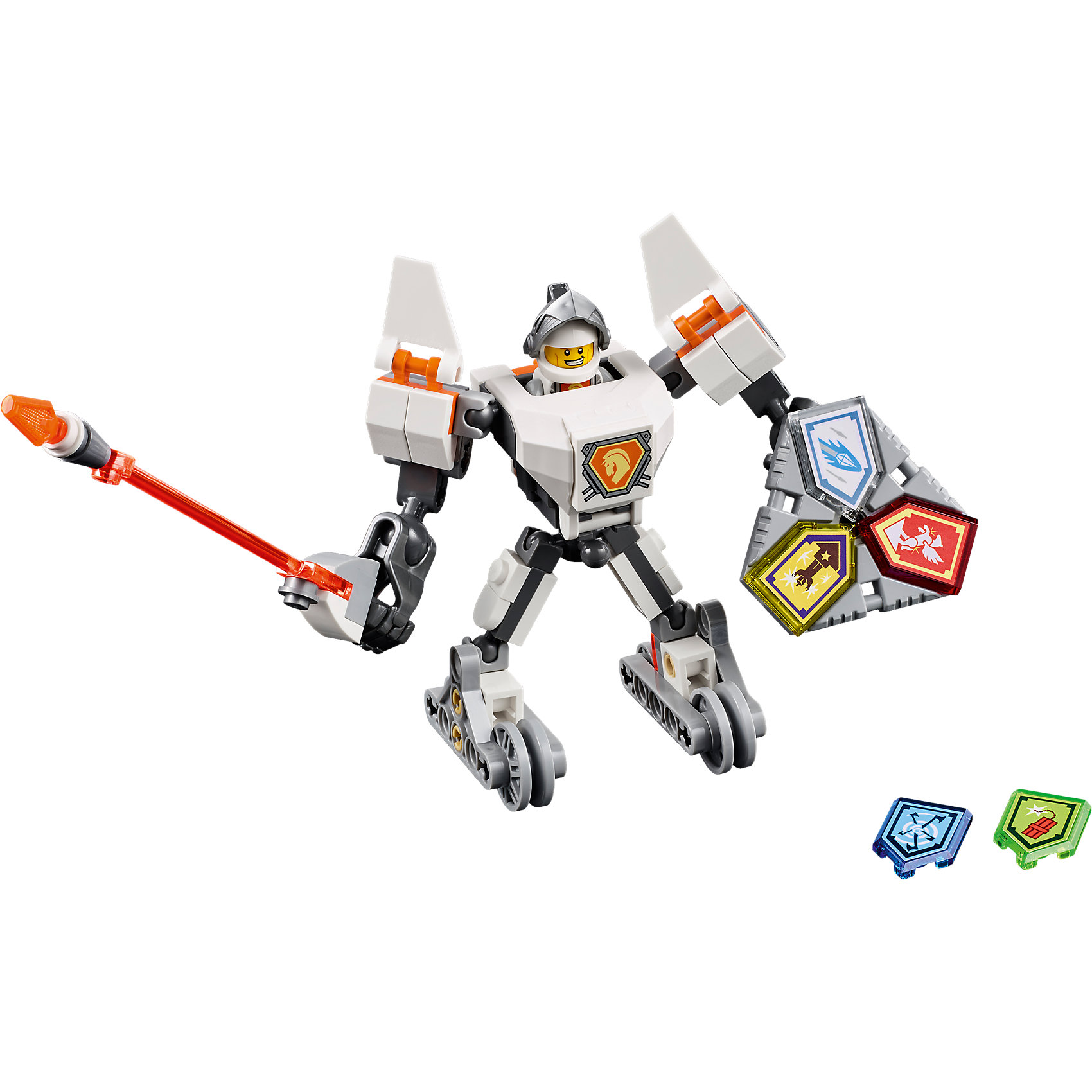LEGO NEXO KNIGHTS 70366: Боевые доспехи ЛансаПластмассовые конструкторы<br>LEGO NEXO KNIGHTS 70366: Боевые доспехи Ланса<br><br>Характеристики:<br><br>- в набор входит: доспехи, фигурка, 5 защитных сил, красочная инструкция<br>- состав: пластик<br>- количество деталей: 83<br>- размер коробки: 20 * 5,5 * 19 см.<br>- высота доспеха: 9 см.<br>- для детей в возрасте: от 7 до 14 лет<br>- Страна производитель: Дания/Китай/Чехия<br><br>Легендарный конструктор LEGO (ЛЕГО) представляет серию «NEXO KNIGHTS» (Нэксо Найтс) по сюжету одноименного мультсериала. Серия понравится любителям средневековья благодаря рыцарям, принцессам, монстрам и ужасным злодеям. Рыцарь Ланс получает свои новые боевые доспехи. Прекрасное сочетание темно-серого, белого и оранжевого цветов отлично ему подходят. Доспех на шарнирах и позволяет рыцарю свободно двигать руками и ногами в плечах, локтях, коленях, бедрах и торсе. Прочный щит содержит сразу три силы, а надежное и яркое копье станет отличным помощников в битве.Изображенный на груди герб Ланса является особенностью доспеха, так как ранее он не изображался. Фигурка Ланса входит в комплект и отлично детализирована. Съемный шлем выглядит очень правдоподобно. К доспеху можно прикрепить детали от турнирной машины Ланса от LEGO NEXO KNIGHTS. Помогай рыцарям бороться с каменными монстрами с помощью прогресса и невероятной Нексо силы!<br><br>Конструктор LEGO NEXO KNIGHTS 70366: Боевые доспехи Ланса можно купить в нашем интернет-магазине.<br><br>Ширина мм: 209<br>Глубина мм: 185<br>Высота мм: 50<br>Вес г: 121<br>Возраст от месяцев: 84<br>Возраст до месяцев: 168<br>Пол: Мужской<br>Возраст: Детский<br>SKU: 5002548
