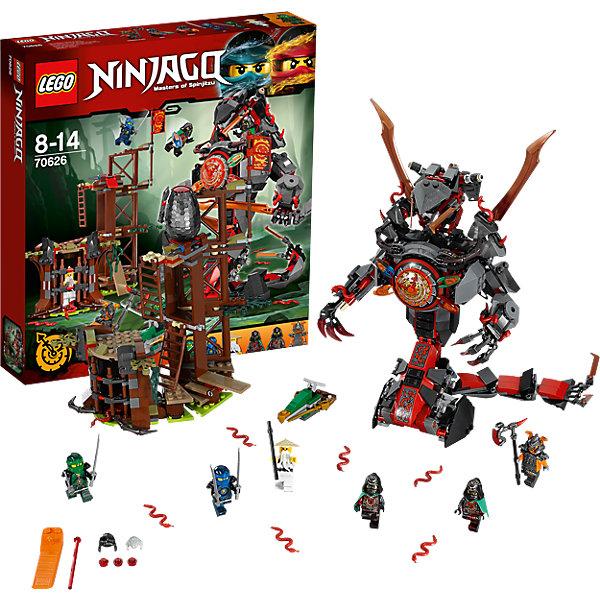 LEGO NINJAGO 70626: Железные удары судьбыПластмассовые конструкторы<br>LEGO NINJAGO 70626: Железные удары судьбы<br><br>Характеристики:<br><br>- в набор входит: детали форта, змеи, 6 минифигурки, 4 клинка времени, аксессуары, инструкция по сборке<br>- минифигурки набора: Ллойд, Джей, сенсей Ву, коммандер Бланк, близнецы Крукс и Акроникс<br>- состав: пластик<br>- количество деталей: 704<br>- размер форта: 20 * 11 * 19 см. <br>- высота змеи: 23 см. <br>- для детей в возрасте: от 8 до 14 лет<br>- Страна производитель: Дания/Китай/Чехия<br><br>Легендарный конструктор LEGO (ЛЕГО) представляет серию «NINJAGO» (Ниндзяго) - это увлекательный мир воинов ниндзя против зла. Ребенку понравятся разнообразие приключений и возможности новых игр.<br><br> В набор входит новая версия Ллойда с катанами, Джей с другими рисунками, Сенсей Ву с интеренсными рисунками и посохом, коммандер Бланк в доспехе и с эксклюзивным топором, эта грозная фигурка отлично прорисована и под доспехом. Близнецы Крукс и Акроникс в темном капюшоне носят новый зеленые плащи, в комплект входит прически, они различаются рисунками на теле фигурок. Форт алой армии с водным мотоциклом для Ллойда. В форте имеется тюрьма, в которой сидит Сенсей Ву. Смотровая площадка предназначена для коммандера Бланка, весь форт можно перестраивать благодаря удобным креплениям. В форте хранится яйцо вермалионов, змей красного цвета, которое можно сбрасывать с помощью механизма. <br><br>Механическая змея состоит из большого количества деталей, хвост собран из шарнирных деталей и отлично двигается, на конце хвоста расположены опасные ятаганы. Руки змея тоже двигаются на шарнирах, пальцы сгибаются зажимая в руках клинки. В голове змеи находится двухместная кабина для близнецов, управляющих временем, тут же спратана пружинная ракета. Циферблат на груди змеи вращается с помощью механизма, вокруг него закреплены клинки времени. Помоги отважным ниндзя спасти сенсея и покончить со злыми близнецами. <br><br>Играя с конструктором ребенок разв