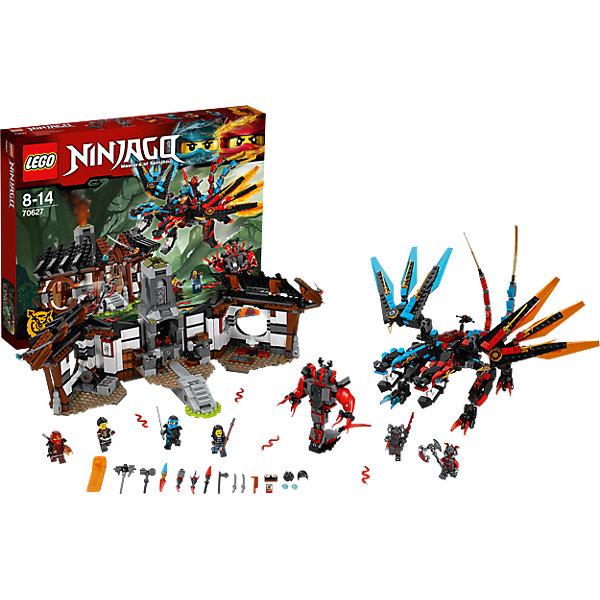 LEGO NINJAGO 70627: Кузница ДраконаПластмассовые конструкторы<br>LEGO NINJAGO 70627: Кузница Дракона<br><br>Характеристики:<br>- в набор входит: детали кузницы, дракона и Бафмилиона, 5 минифигурок, 1 клинок времени, аксессуары, красочная инструкция по сборке<br>- минифигурки набора: Кай, Ния, Рей, Майя, командир Рагмунг, Слэкджек<br>- состав: пластик<br>- количество деталей: 1137<br>- примерное время сборки: 3 часа.<br>- размер кузницы : 27 * 16 * 18 см. <br>- размер дракона: 38 * 23 * 41 см.<br>- высота Бафмилиона: 12 см.<br>- для детей в возрасте: от 8 до 14 лет<br>- Страна производитель: Дания/Китай/Чехия<br><br>Легендарный конструктор LEGO (ЛЕГО) представляет серию «NINJAGO» (Ниндзяго) - это увлекательный мир воинов ниндзя против зла. Ребенку понравятся разнообразие приключений и возможности новых игр.<br><br> В кузнице драконов имеется все для создания лучшего оружия, с помощью инструкции набора можно собрать более 15 разных моделей. Ниндзя Кай оснащен клинком для перемотки времени. У девушки ниндзи Нии очень детализированный костюм и рельефный дизайн маски, оба ниндзи имеют в наборе прически. В набор входят минифигурки родителей Кая и Нии – Рея и Майи. <br><br>Фигурка Бафмилиона сборная с хвостом и вращающимися щупальцами, вместо головы у него четыре змеи, руки, торс, и хвост тоже двигаются. Дракон огня и воды объединил в себе две стихии. Две головы на шарнирных деталях отлично двигаются, их пасти открываются. Крылья прозрачного цвета тоже на шарнирах и двигаются во всех направлениях, на них расположены золотые шипы-клинки, у дракона два хвоста с шарнирными деталями и полным движением. <br><br>Сама кузница выполнена в восточном стиле, она раскрывается в две стороны. Окна в кузнице круглые, по периметру висят фонарики. Кузня оборудована двумя наковальнями с движущимися молотками, в ней расположена внушительная печь с огнем, языки пламени двигаются с помощью механизма. Слева расположен двигающийся точильный камень. В кузнице хранится разное оружие от молотов до 