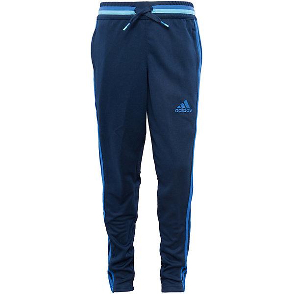Трикотажные брюки adidasСпортивная форма<br>Трикотажные брюки Аdidas (Адидас).<br><br>Характеристики:<br><br>• цвет: темно - синий;<br>• состав: 100% полиэстер;<br>• Технология climacool® сохраняет приятные ощущения прохлады и свежести благодаря специальным сетчатым вставкам<br>• Передние карманы на молнии<br>• Эластичный пояс на регулируемых завязках-шнурках; <br>• сетчатые вставки под коленями для вентиляции; <br>• рифленые вставки на голенях; <br>• молнии на щиколотках<br>• Зауженный к низу крой<br><br>Трикотажные брюки от известного бренда Аdidas (Адидас)-эти удобные спортивные брюки отлично впишутся в гардероб  вашего ребенка. Брюки темно-синего цвета, декорированы ярко – голубыми лампасами. Данная модель выполнена на широкой  резинке в поясе, дополнительно собирается на шнурке. На брюках 2 кармана, застегивающихся на молнии. В прохладную погоду или вечером, в этих брюках юный спортсмен сможет воспользоваться любой возможностью пойти на тренировку. Модель с освежающей технологией climacool® обеспечивает необходимую вентиляцию и поддерживает комфортную температуру тела. Функциональный зауженный к низу крой для удобства во время тренировки. Они хорошо сидят на ребенке, обеспечивают комфорт и отлично сочетаются с другой спортивной одеждой. <br><br>Трикотажные брюки Аdidas (Адидас), можно купить в нашем интернет-магазине.<br><br>Ширина мм: 215<br>Глубина мм: 88<br>Высота мм: 191<br>Вес г: 336<br>Цвет: голубой<br>Возраст от месяцев: 180<br>Возраст до месяцев: 192<br>Пол: Мужской<br>Возраст: Детский<br>Размер: 176,128,164,152<br>SKU: 5003549