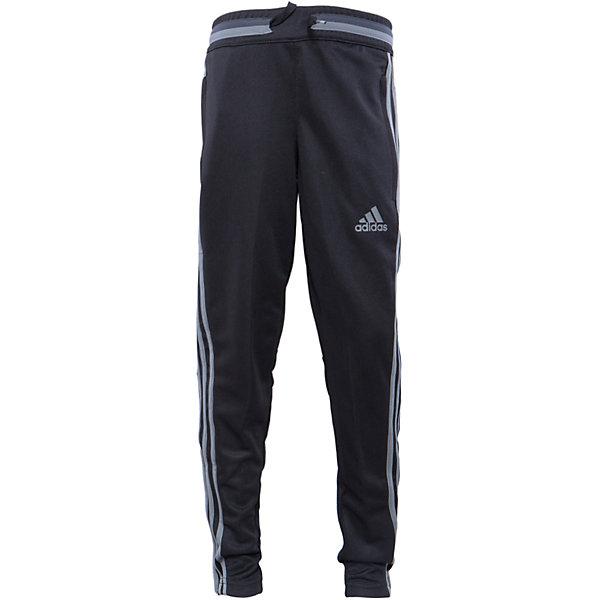 Трикотажные брюки adidasСпортивная форма<br>Трикотажные брюки Аdidas (Адидас).<br><br>Характеристики:<br><br>• цвет: темно-серый;<br>• состав: 100% полиэстер;<br>• Технология climacool® сохраняет приятные ощущения прохлады и свежести благодаря специальным сетчатым вставкам<br>• Передние карманы на молнии<br>• Эластичный пояс на регулируемых завязках-шнурках; <br>• сетчатые вставки под коленями для вентиляции; <br>• рифленые вставки на голенях; <br>• молнии на щиколотках<br>• Зауженный к низу крой<br><br>Трикотажные брюки от известного бренда Аdidas (Адидас)-эти удобные спортивные брюки отлично впишутся в гардероб  вашего ребенка. Брюки темно-серого цвета, декорированы светло – серыми лампасами. Данная модель выполнена на широкой  резинке в поясе, дополнительно собирается на шнурке. На брюках 2 кармана, застегивающихся на молнии. В прохладную погоду или вечером, в этих брюках юный спортсмен сможет воспользоваться любой возможностью пойти на тренировку. Модель с освежающей технологией climacool® обеспечивает необходимую вентиляцию и поддерживает комфортную температуру тела. Функциональный зауженный к низу крой для удобства во время тренировки. Они хорошо сидят на ребенке, обеспечивают комфорт и отлично сочетаются с другой спортивной одеждой. <br><br>Трикотажные брюки Аdidas (Адидас), можно купить в нашем интернет-магазине.<br>Ширина мм: 215; Глубина мм: 88; Высота мм: 191; Вес г: 336; Цвет: синий; Возраст от месяцев: 84; Возраст до месяцев: 96; Пол: Мужской; Возраст: Детский; Размер: 128,176,164,152,140; SKU: 5003554;